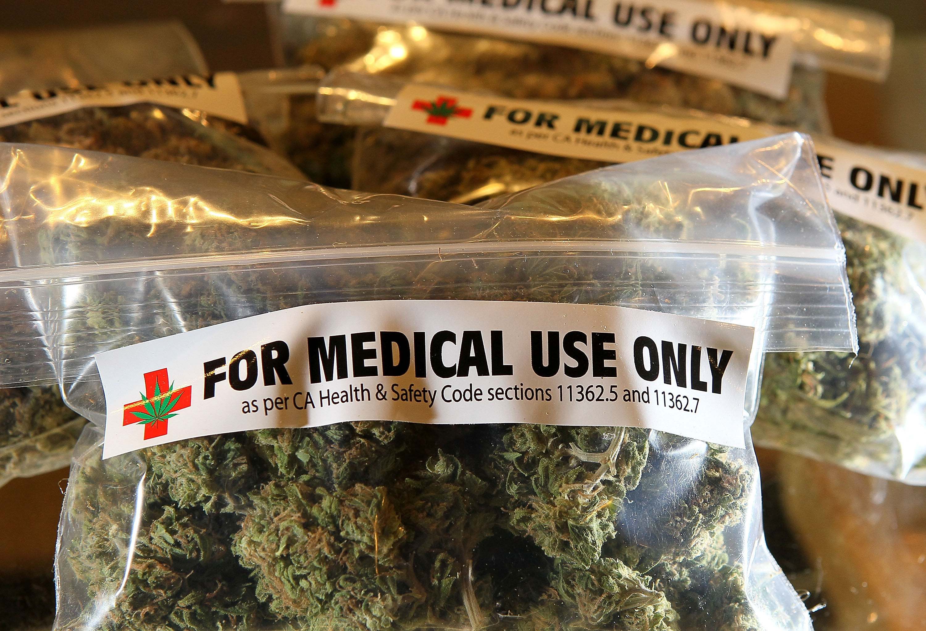 One-ounce bags of medicinal marijuana are displayed at the Berkeley Patients Group March 25, 2010 in Berkeley, California.