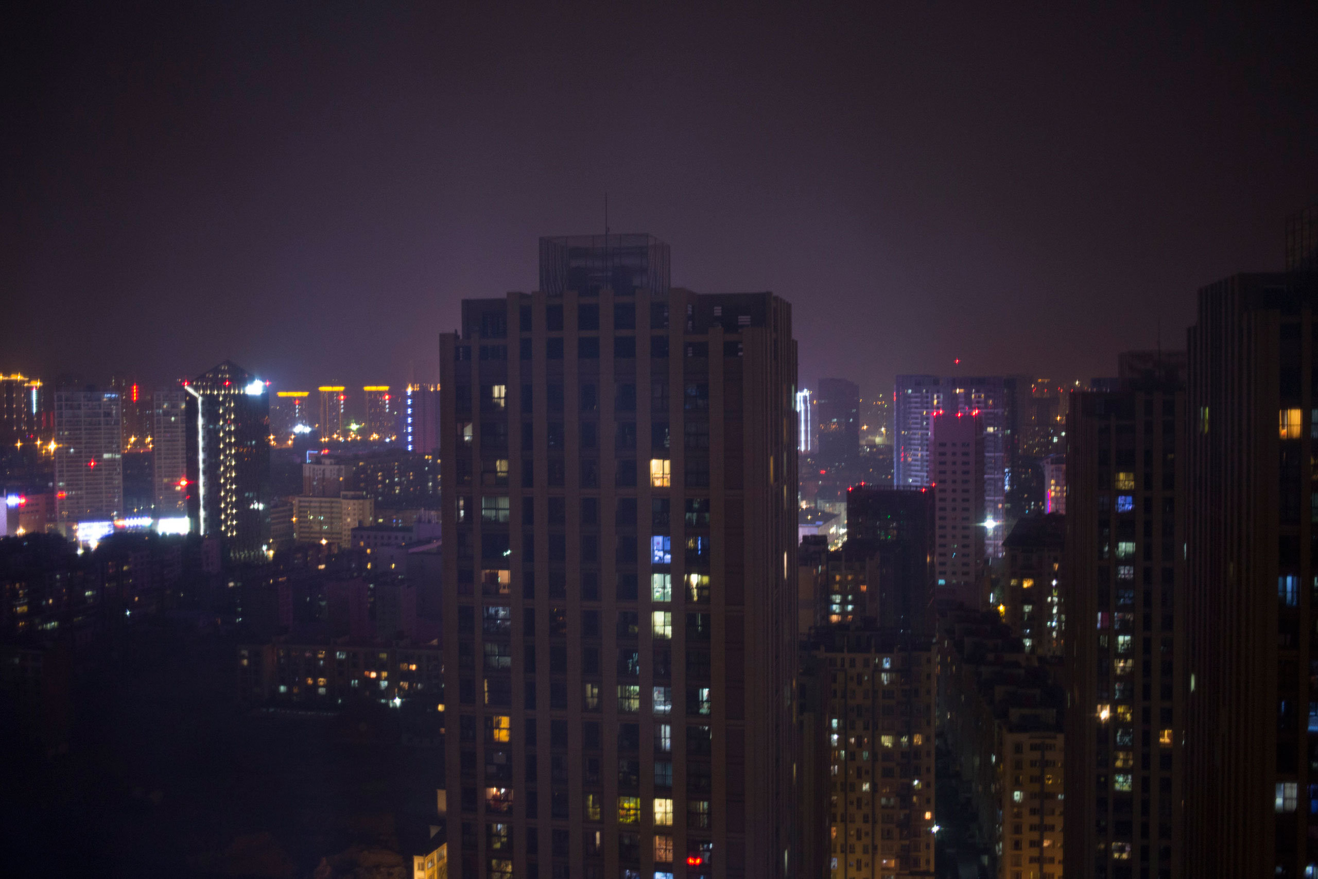 A view of Kunming at night from Nana's apartment, March 22, 2015.