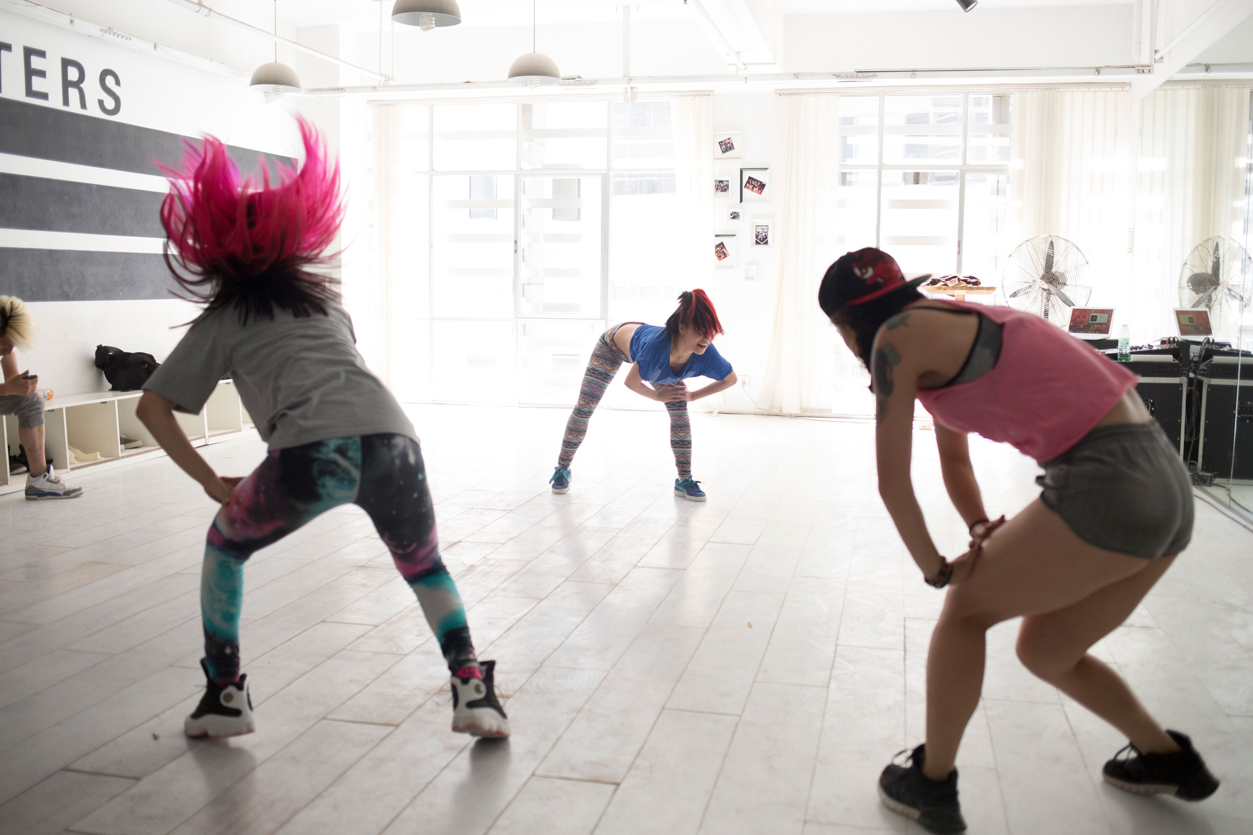Dangsters members practice for a new choreography in their studio in Kunming, Yunnan Province, China, March 12, 2015.