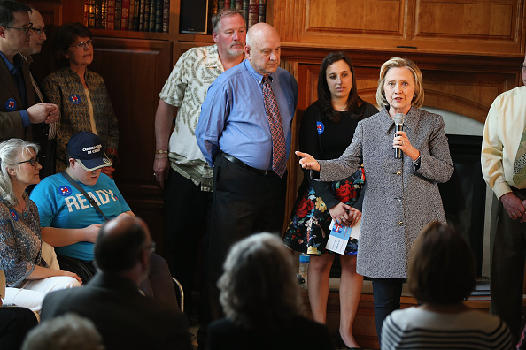 Democratic presidential hopeful and former U.S. Secretary of State Hillary Clinton speaks during a grassroots-organizing event at the home of Dean Genth and Gary Swenson on May 18, 2015 in Mason City, Iowa.