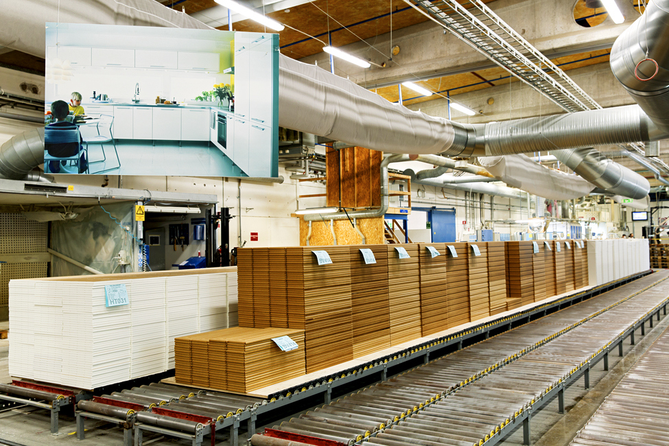 Kitchen cabinet fronts made at Ikea's factory in Älmhult.
