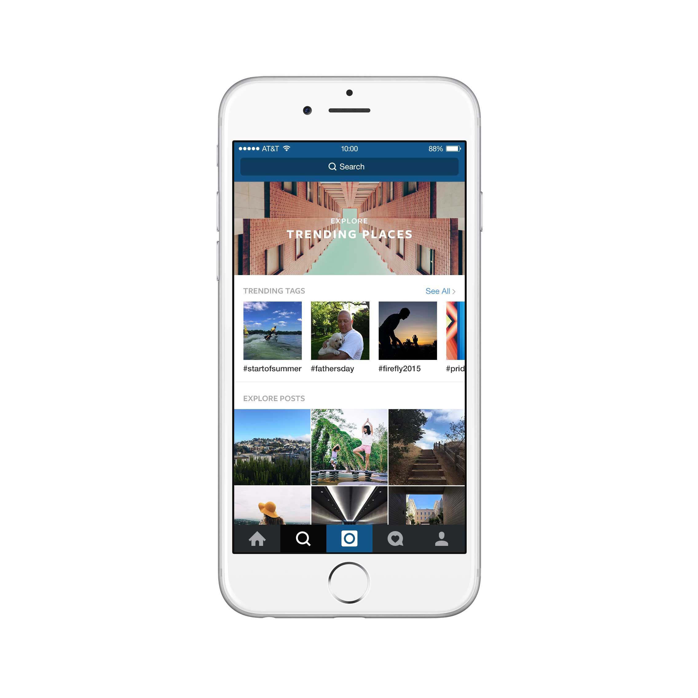 Instagram's new Explore section features Trending Places and Hastags as well as curated selections of user accounts