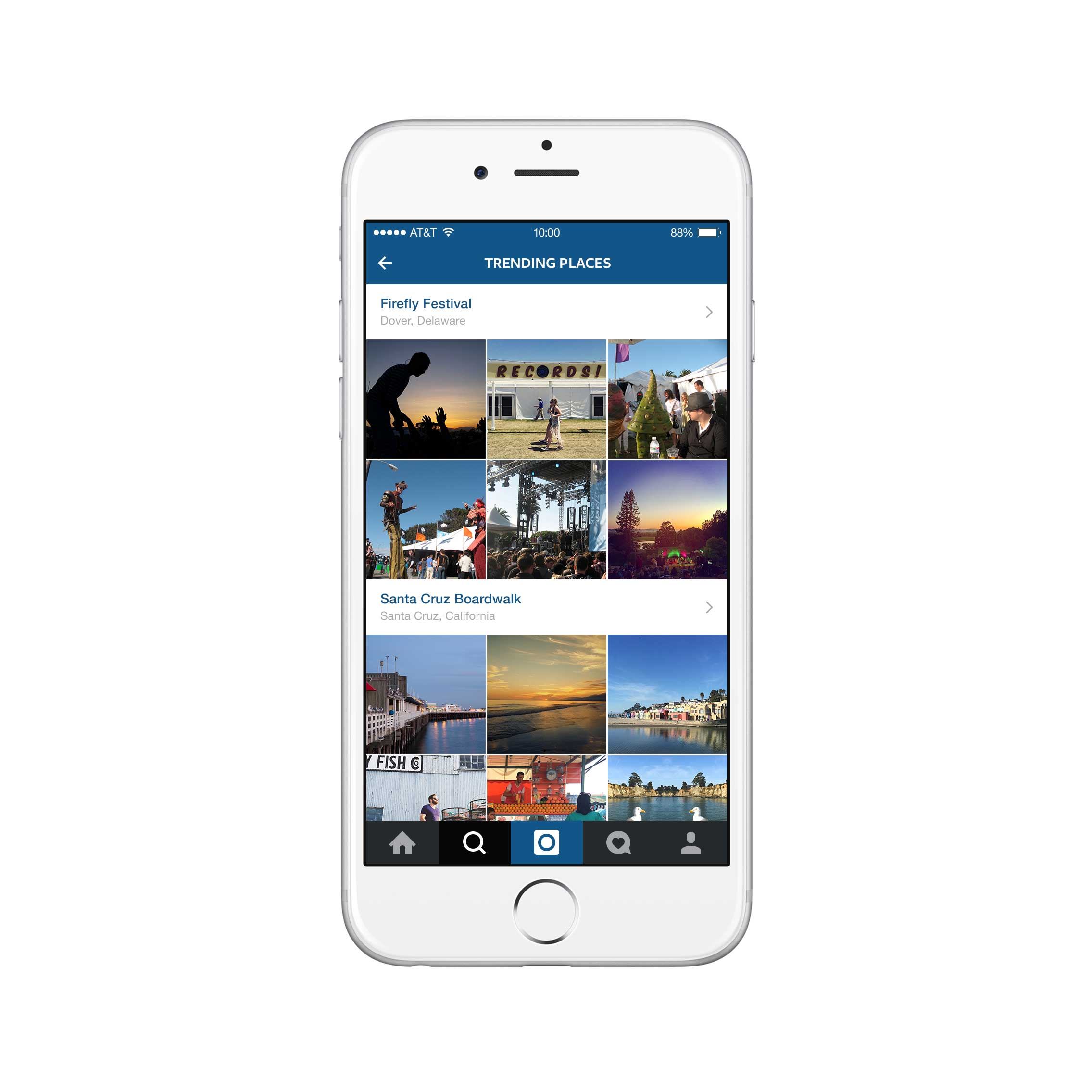 The new version of Instagram's Explore tab also offers a list of trending places around the world