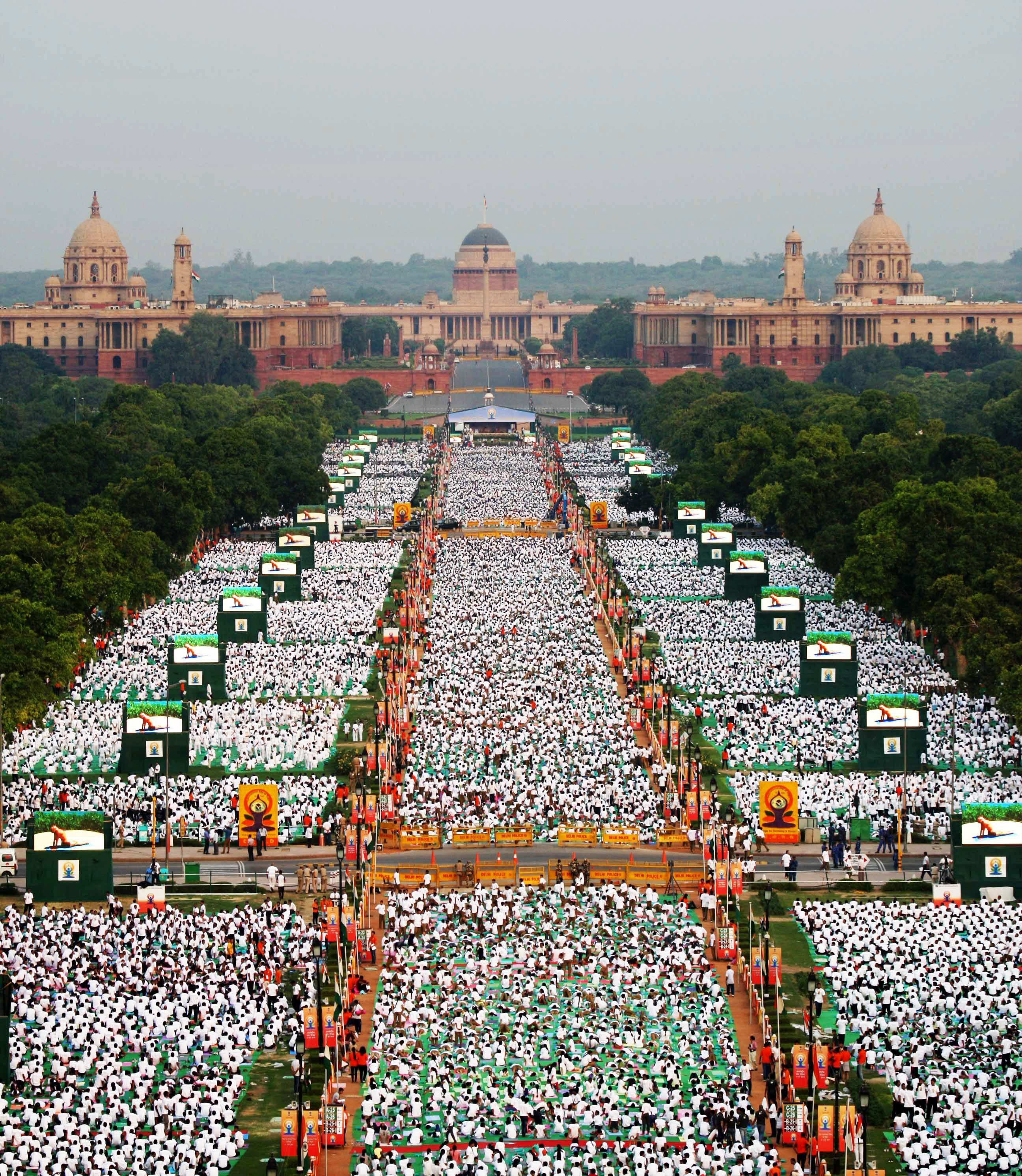 Thousands of participants perform yoga on Rajpath, a boulevard in New Delhi, on June 21, 2015.