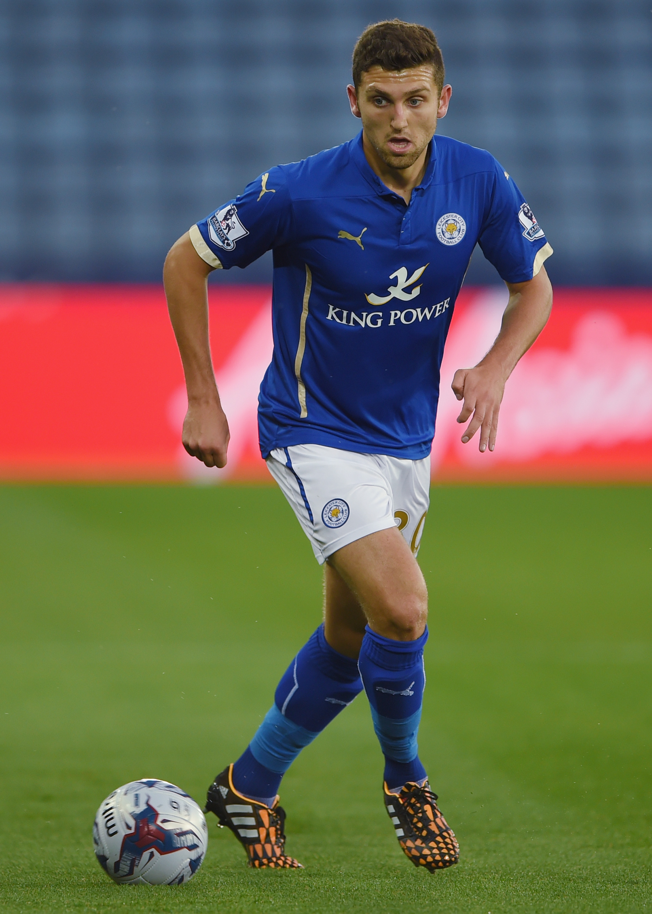 James Pearson of Leicester in action during the Capital One Cup second round match between Leicester City and Shrewsbury Town at The King Power Stadium on Aug. 26, 2014 in Leicester, England.