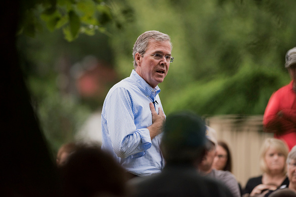 Jeb Bush, former governor of Florida and Republican 2016 U.S. presidential candidate, speaks during a campaign stop outside a residence in Washington, Iowa, on Wednesday, June 17, 2015.