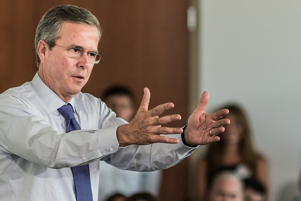 Republican presidential candidate and former Florida Gov. Jeb Bush answers questions from employees of Nephron Pharmaceutical Company June 29, 2015 in West Columbia, South Carolina.