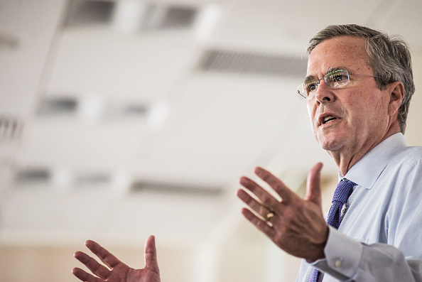 Republican presidential candidate and former Florida Gov. Jeb Bush answers questions from employees of Nephron Pharmaceutical Company on June 29, 2015 in West Columbia, South Carolina.