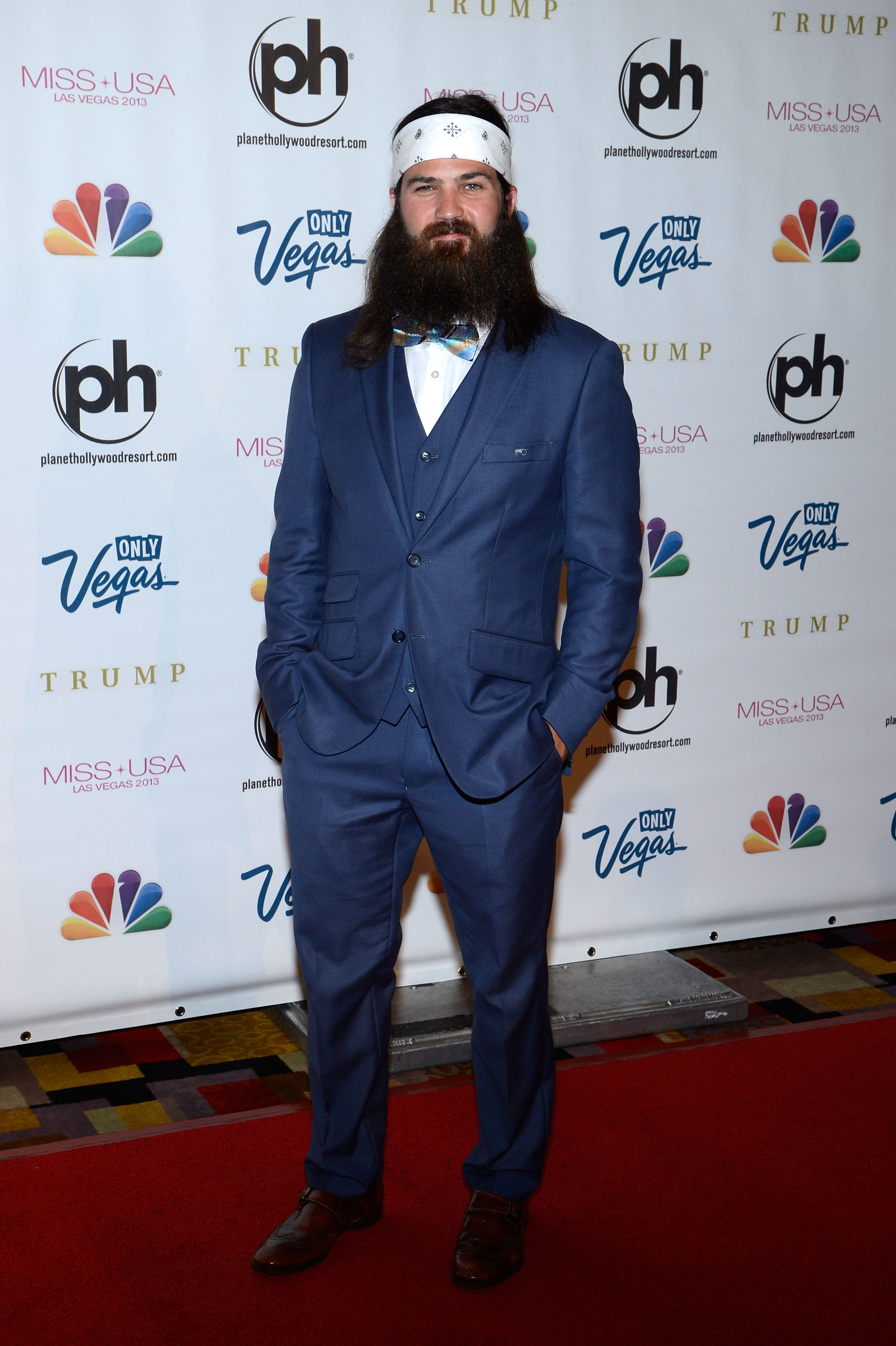 From left, television personality Jep Robertson of 'Duck Dynasty' arrives at the Miss USA 2013 pageant on June 16, 2013, in Las Vegas.