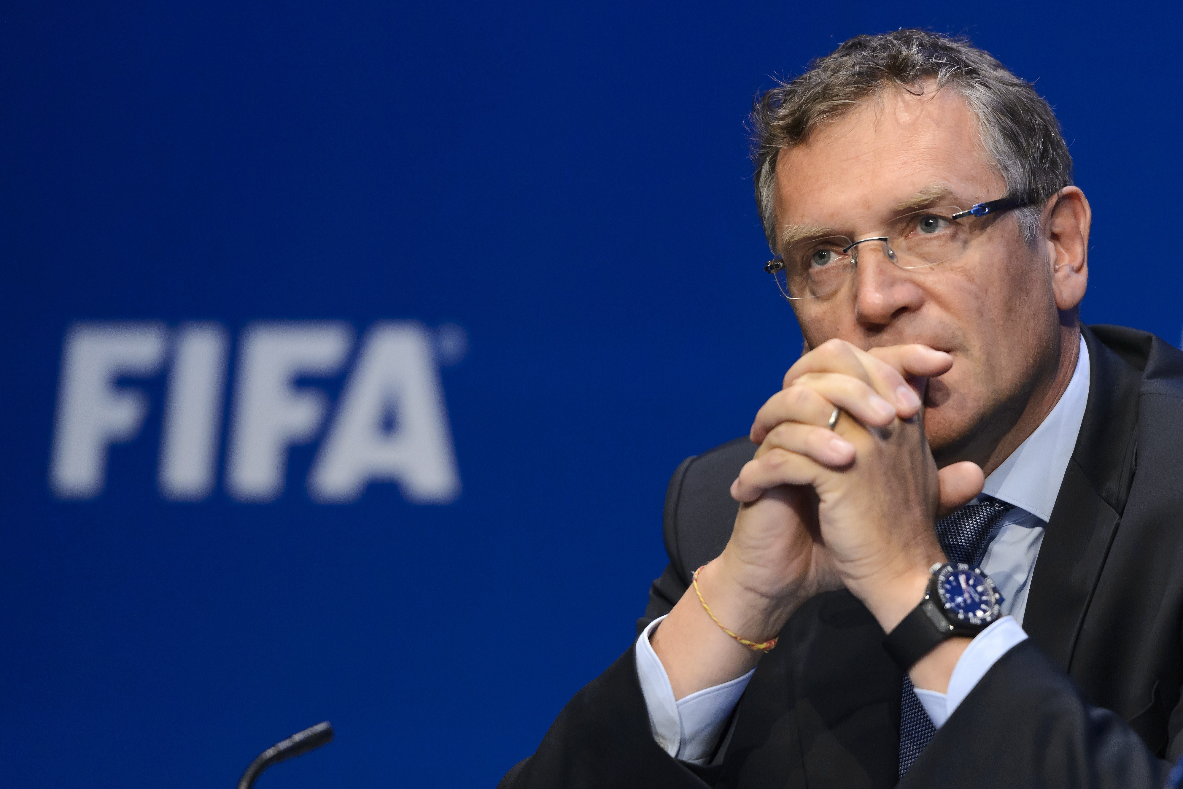 This May 30, 2015 photo shows FIFA general secretary Jerome Valcke during a press conference following the 65th FIFA Congress in Zurich.
