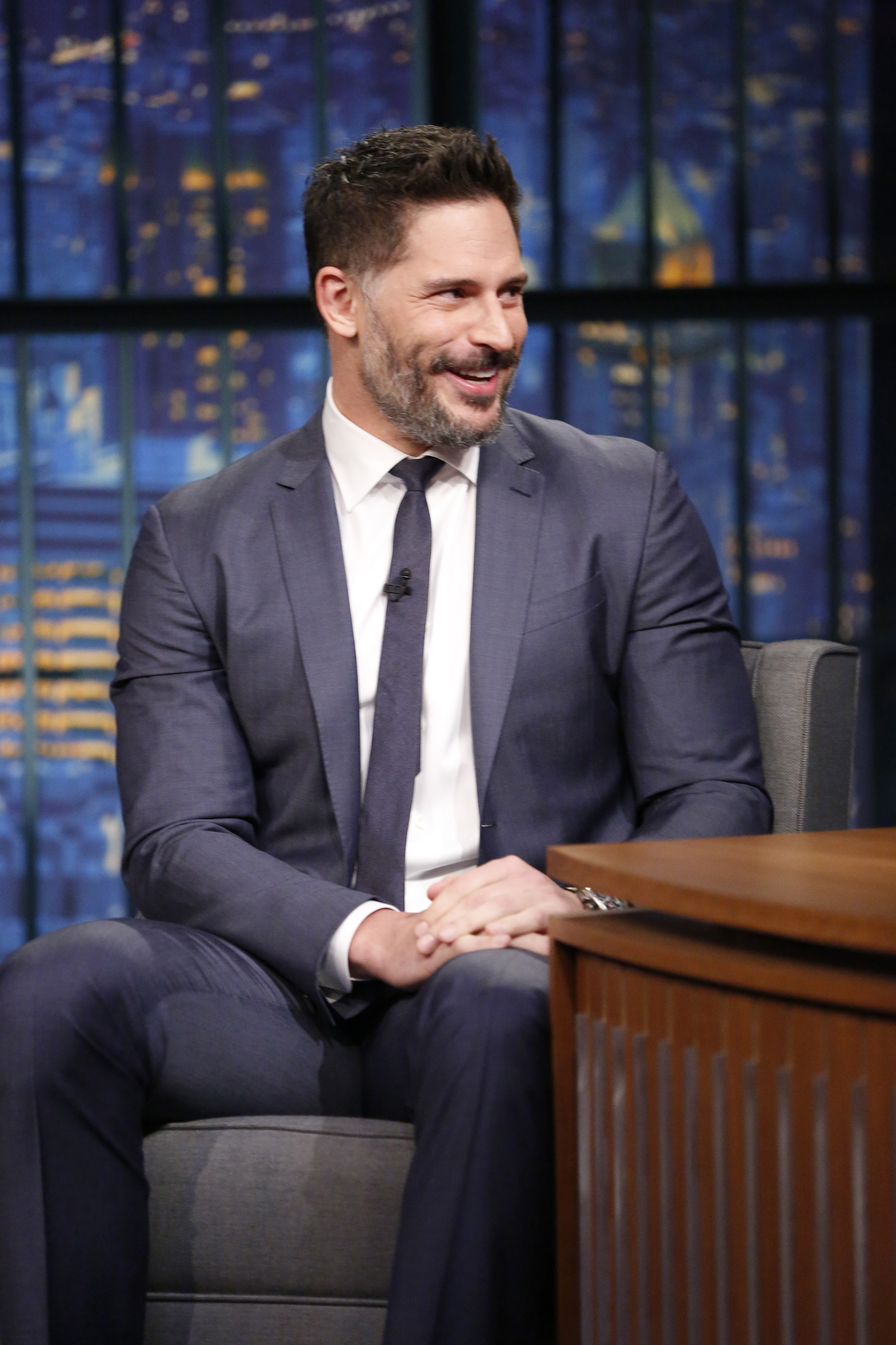 Actor Joe Manganiello during an interview with Seth Meyers on Late Night on June 22, 2015.