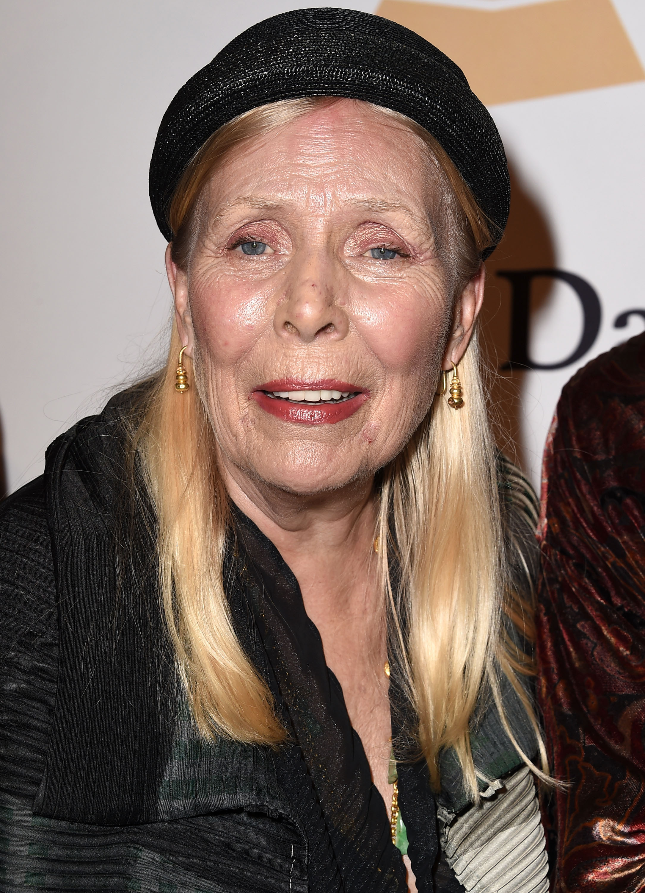 Joni Mitchell arrives at the Pre-Grammy Gala And Salute To Industry Icons Honoring Martin Bandier on February 7, 2015 in Los Angeles.