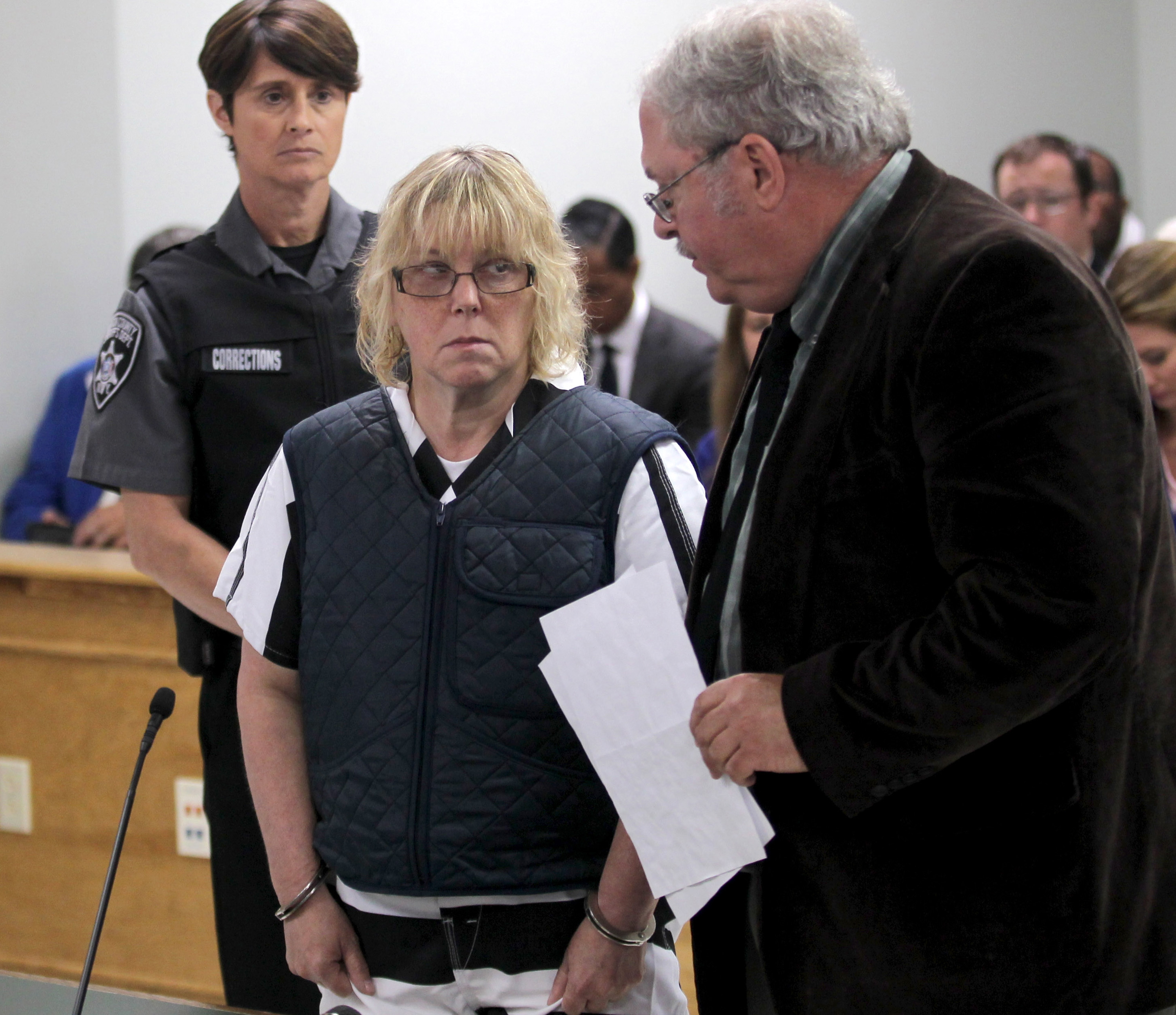 Joyce Mitchell, left appears with her lawyer Stephen Johnston before Judge Buck Rogers in Plattsburgh City Court on June 15, 2015 in Plattsburgh, New York.