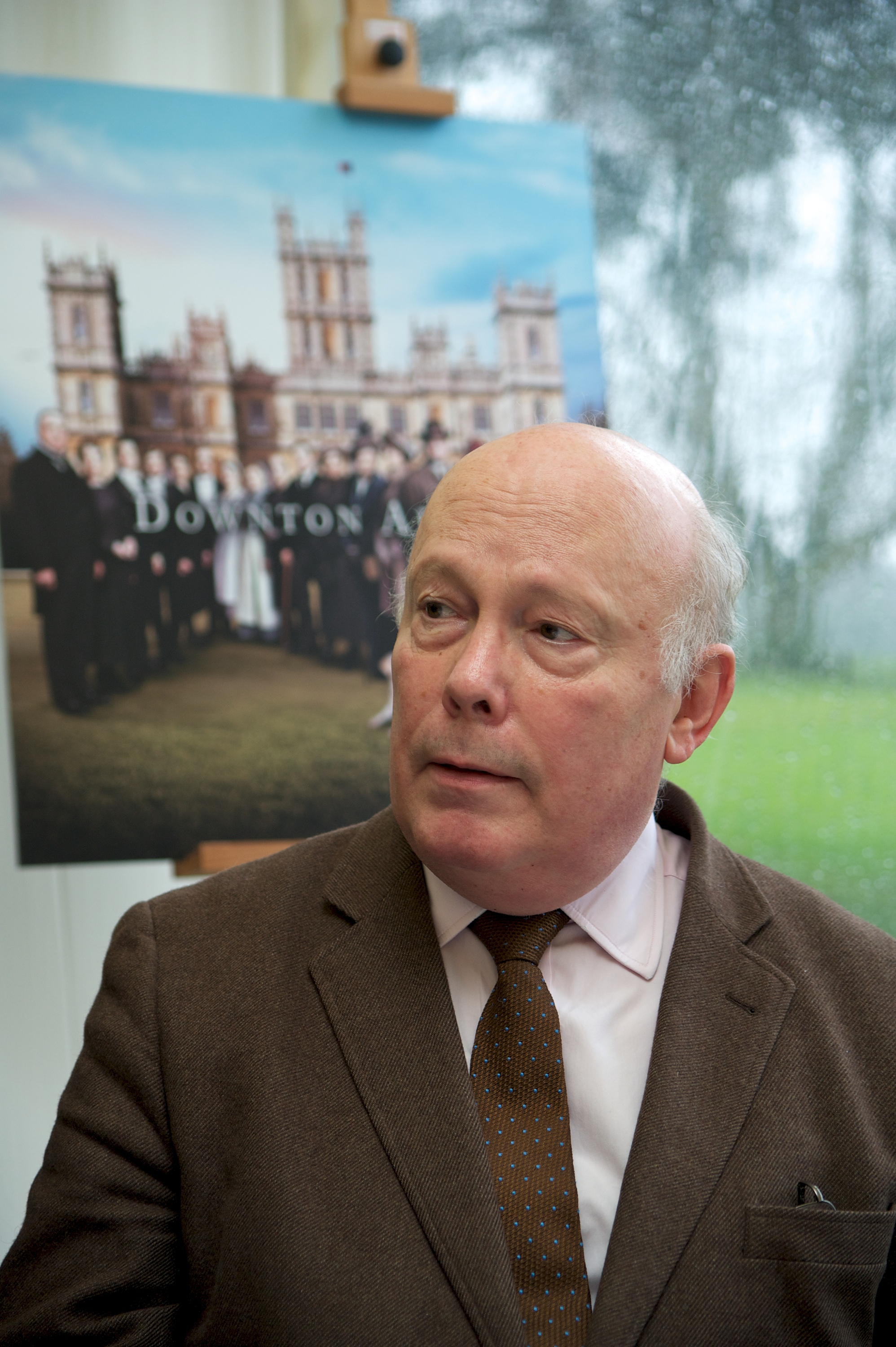 Julian Fellowes on the  Downton Abbey  set at Highclere Castle on February 16, 2015 in Newbury, England.
