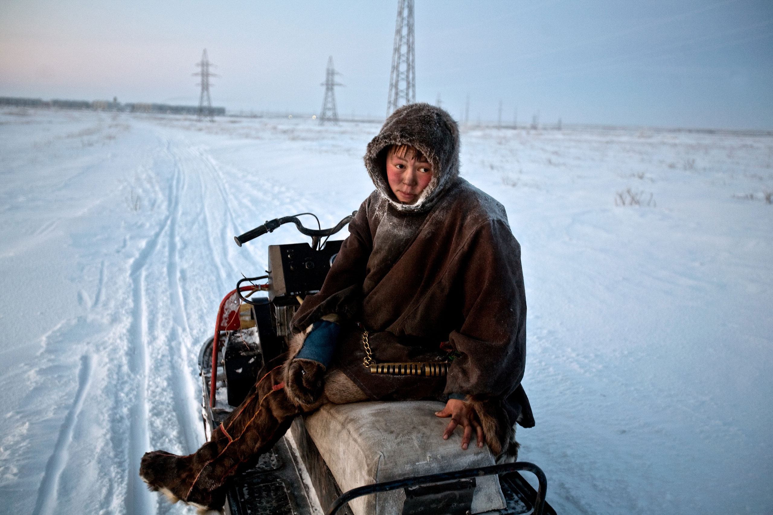 Reindeer herder Simyon travels by sled from his chum towards Vorkuta to buy supplies. Construction of gas pipelines and industrial complexes forces them to travel further afield in search of pastures, January 2009.