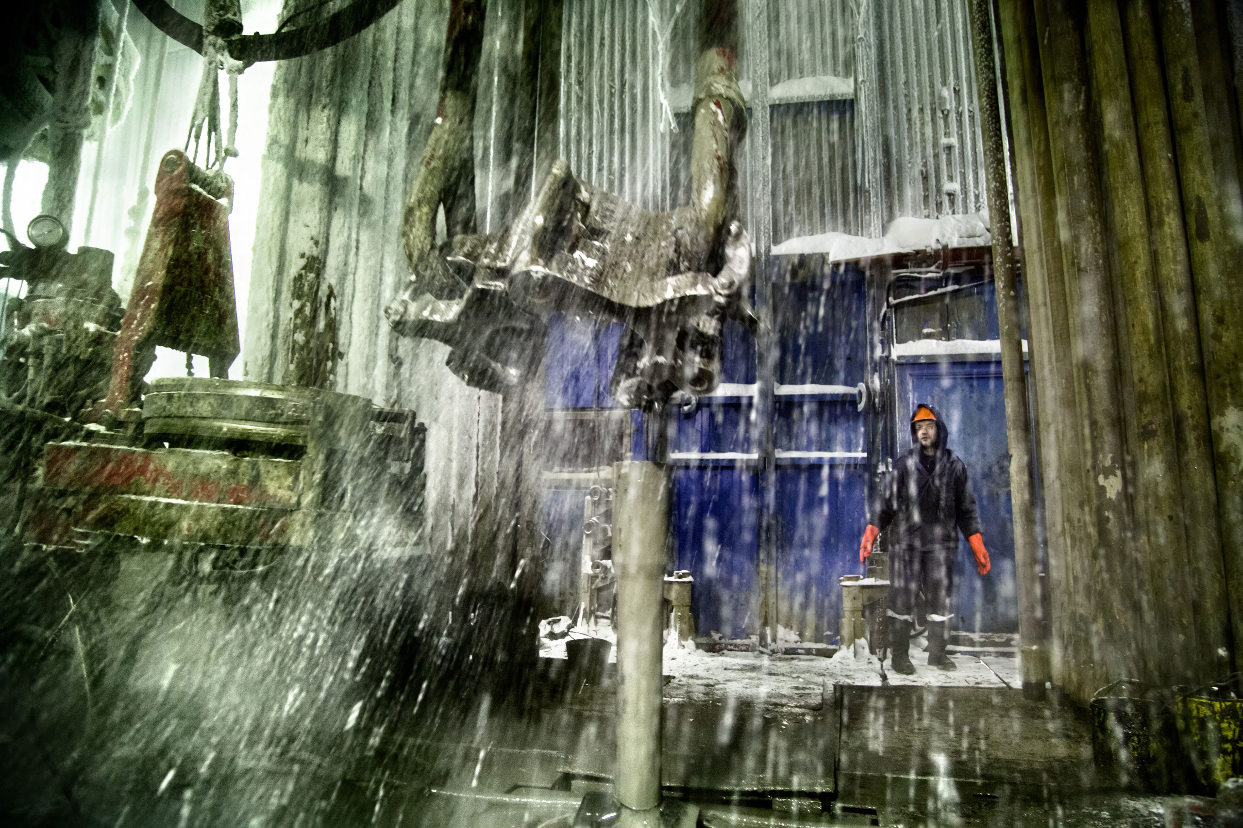A Russian worker at a drilling well in Yamal, Arctic Siberia, Russia, which has the world's largest gas deposit, December 2014.