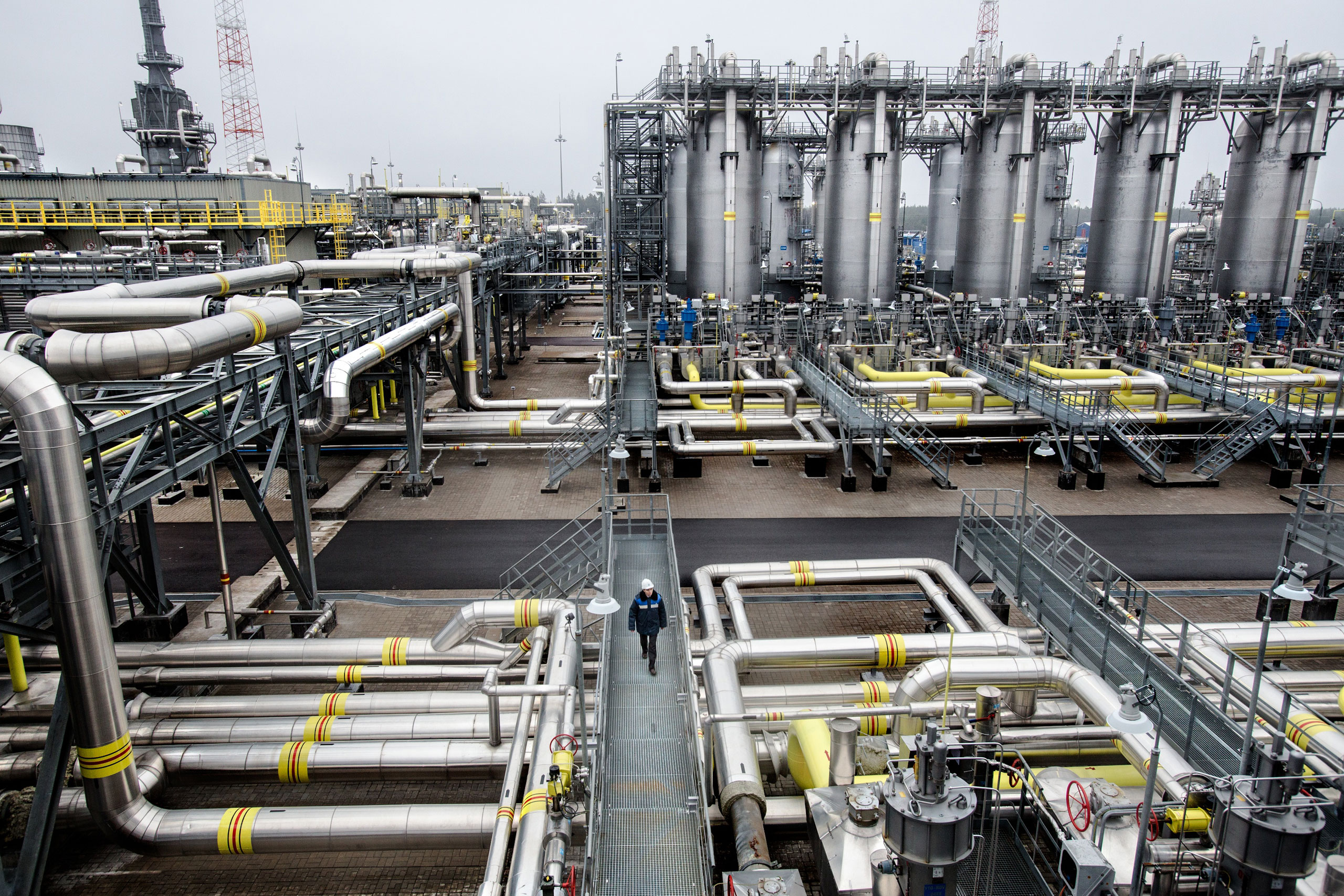 The Portovaya compressor station where Russian gas is condensed before it is piped across the Baltic Sea bed to supply energy to Europe. With sanctions over Russia's incursion into Ukraine and tumbling world energy prices, Russia's economy has slowed, November 2014.