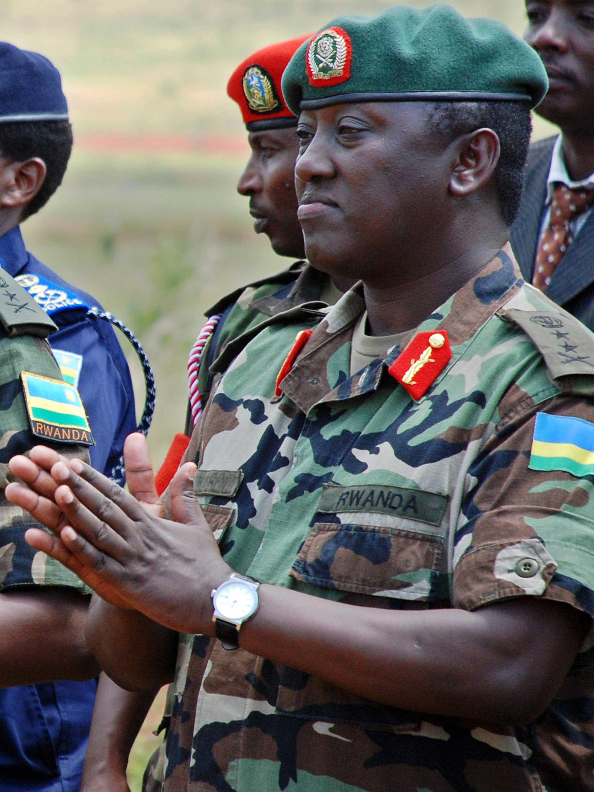 Rwandan Lieutenant General Karenzi Karake at Nasho Military training school in Kirehe District, in Rwanda's Eastern Province, when he was still a major-general, Dec. 17, 2010