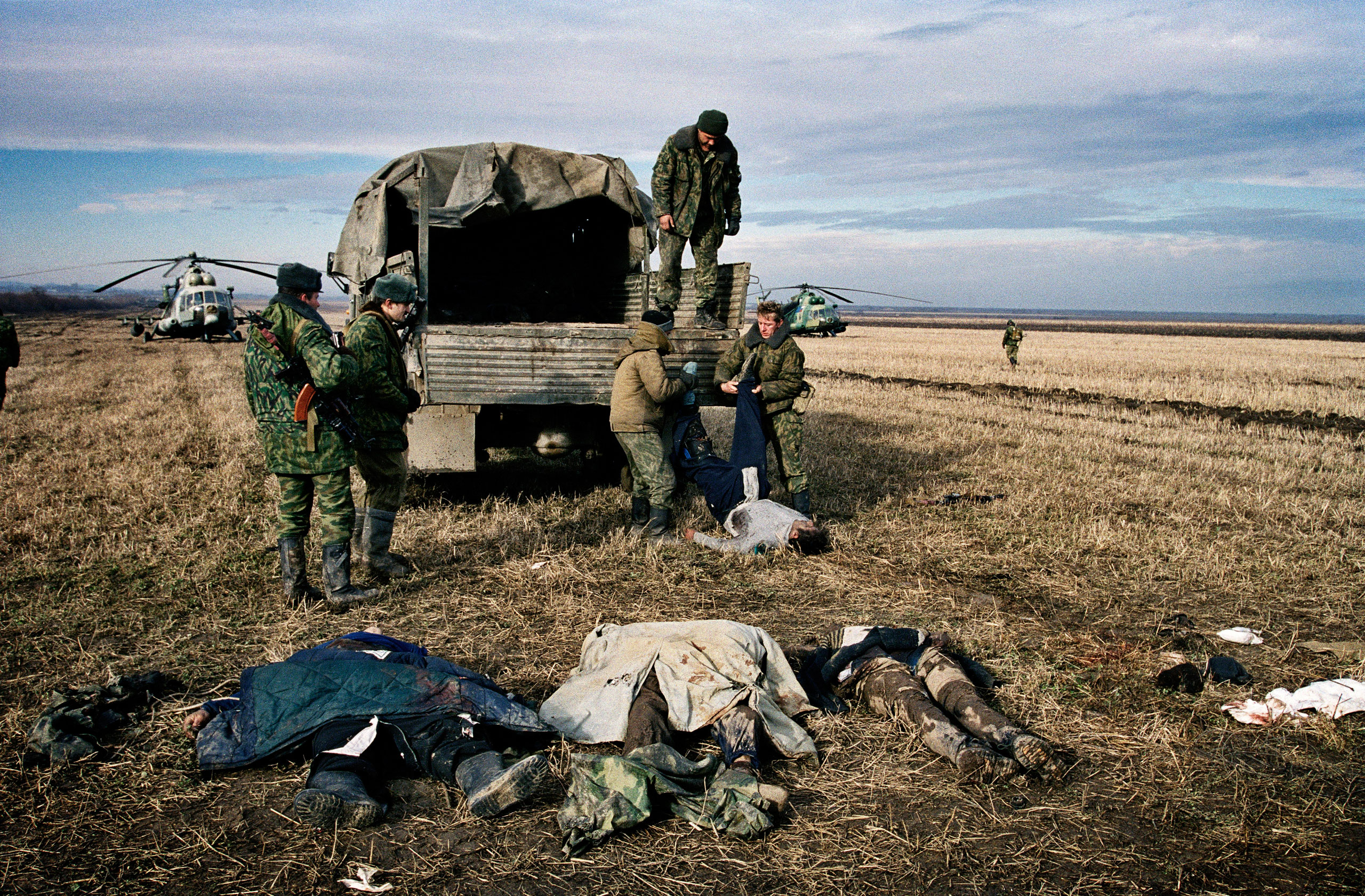 Russian troops entered Chechnya in October 1999. By the beginning of December 1999,  they had surrounded the capital of Grozny, which they stormed on Dec. 25, 1999, killing tens of thousands in the process.