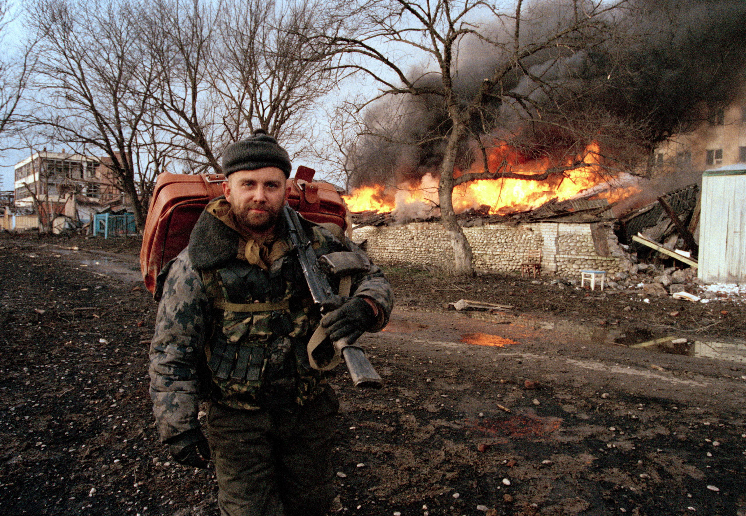 A Russian militia special forces soldier in Grozny, Chechnya, January 2000.