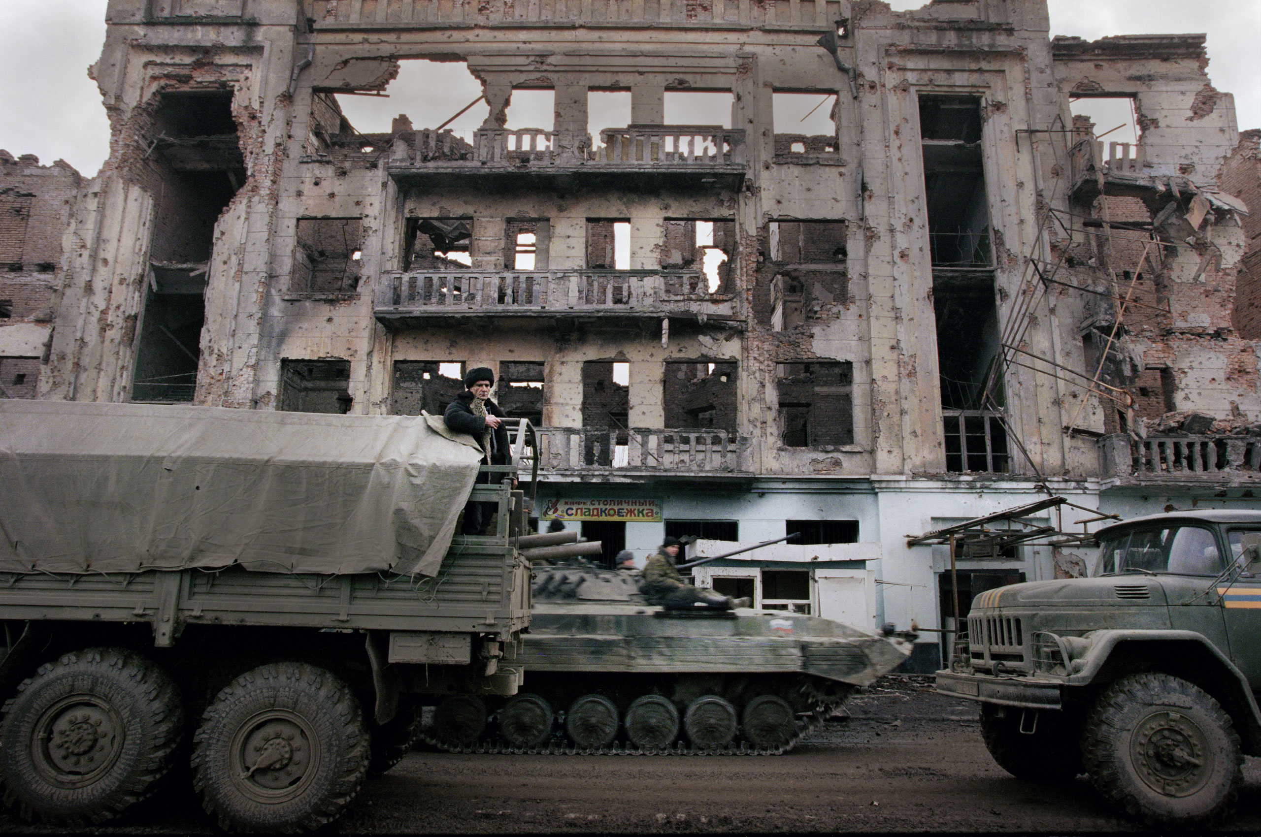 In the first year of Vladimir Putin's presidency, in 2000, massive Russian air strikes destroyed Chechnya's capital of Grozny, February, 2000.