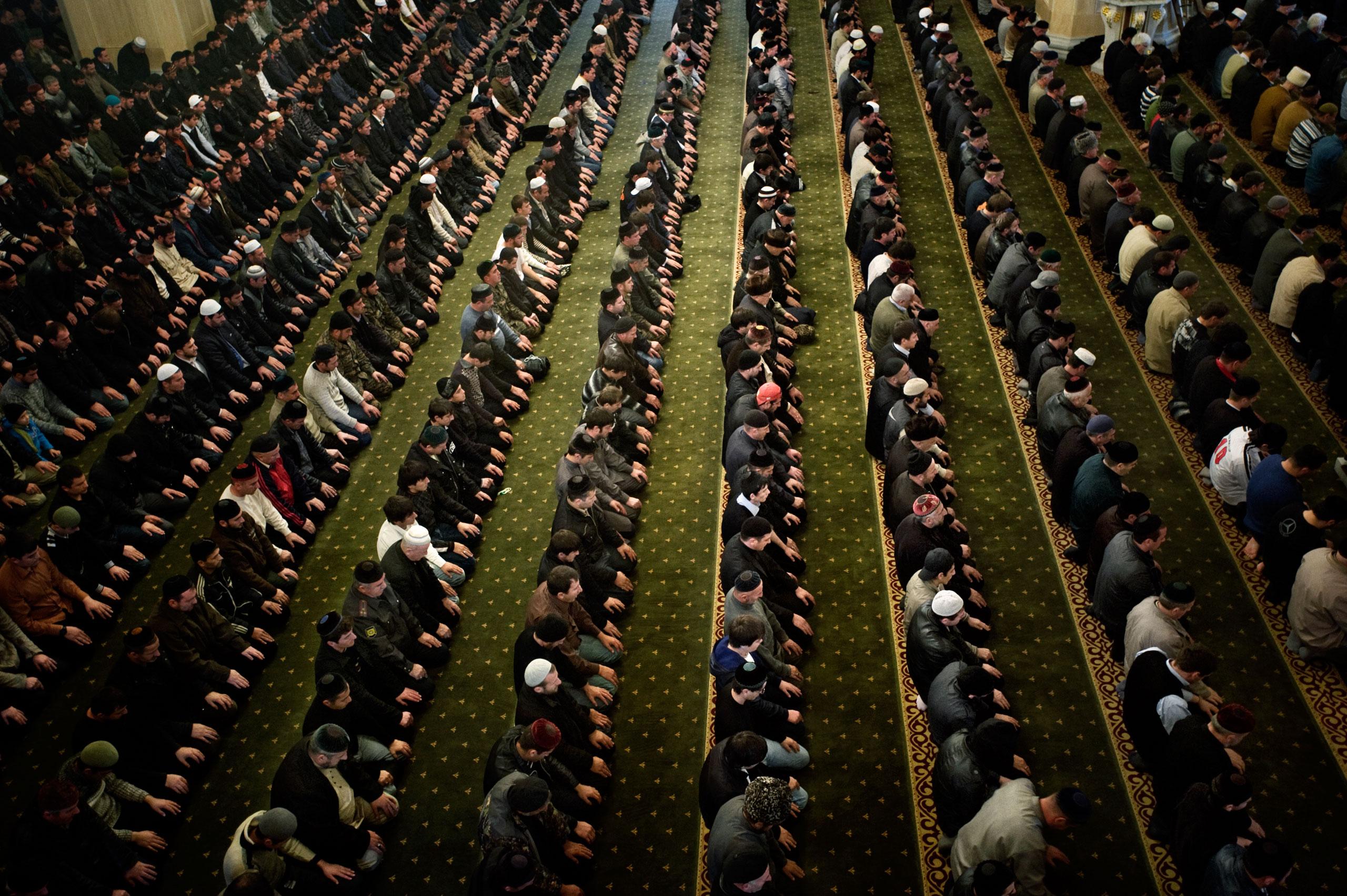 Friday prayers at the Akhmad Kadyrov Mosque, Grozny Chechnya, October 2009.