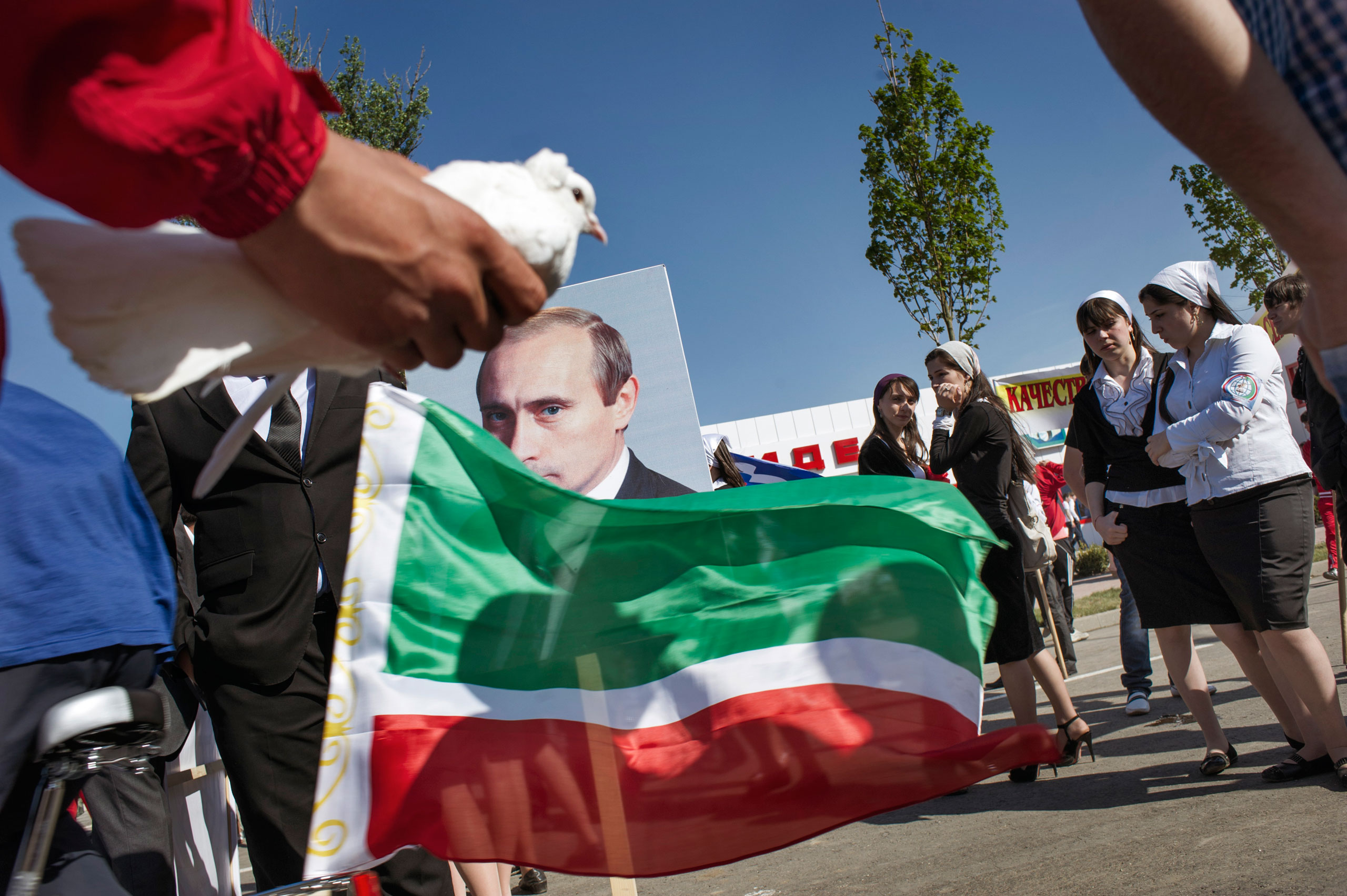 Youth activists participate in a patriotic rally in Gudermes, Chechnya, May 2010.