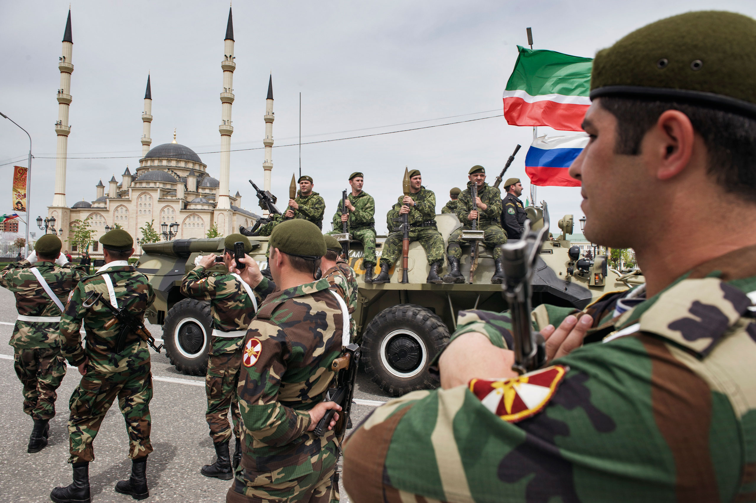 Chechen security forces participate in a military parade marking the Soviet victory in World War II, Grozny, Chechnya,  May 2010.