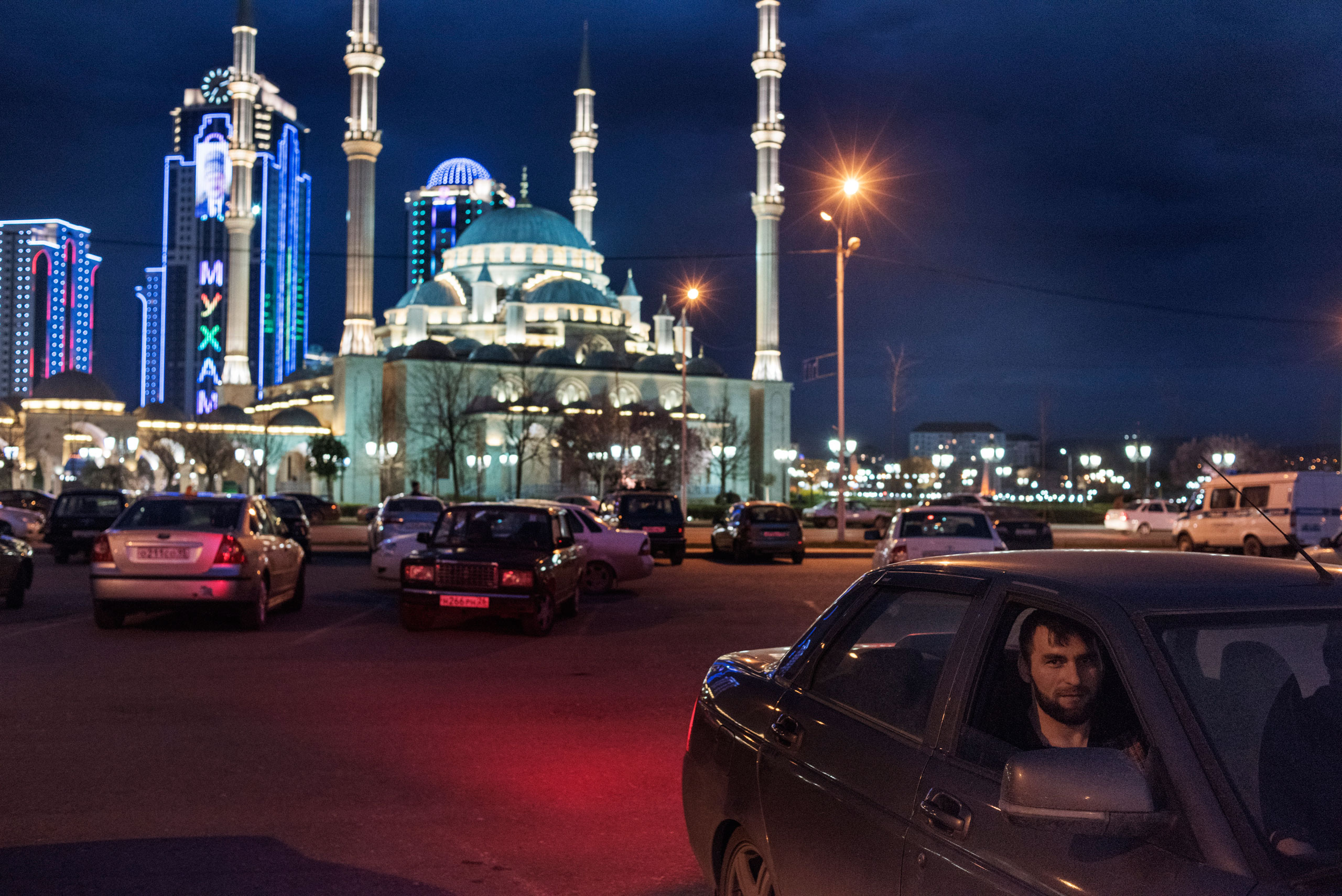 Worshipers leave evening prayer at the Heart of Chechnya Mosque in Grozny, April 2015.