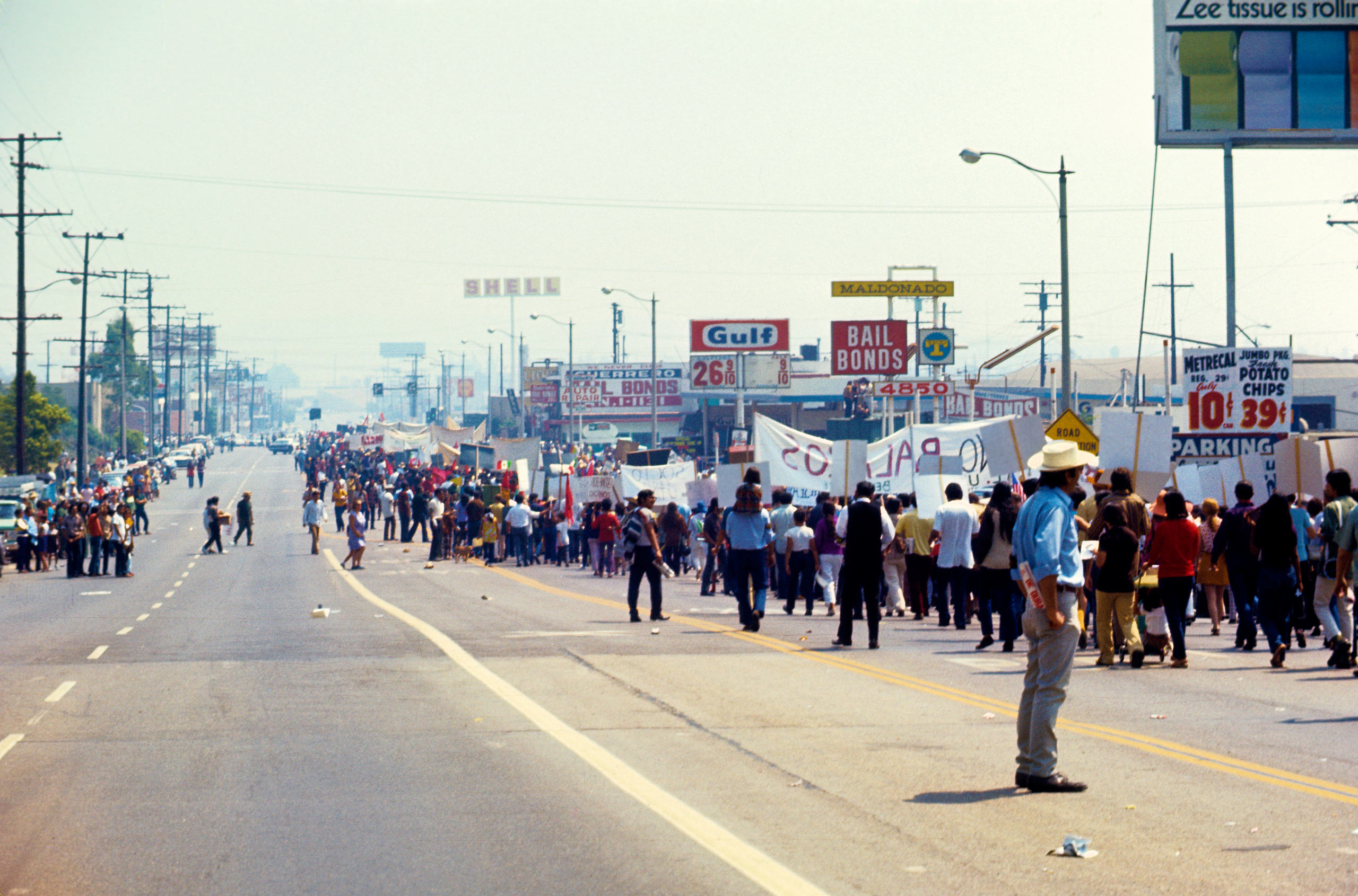 Chicano Moratorium against the Vietnam War, 1970.                                Thousands of people from all over the United States gathered in East Los Angeles, on August 29th of 1970, toparticipate in what began as a peaceful march and demonstrations to protest our involvement in the Vietnam War —Oscar Castillo