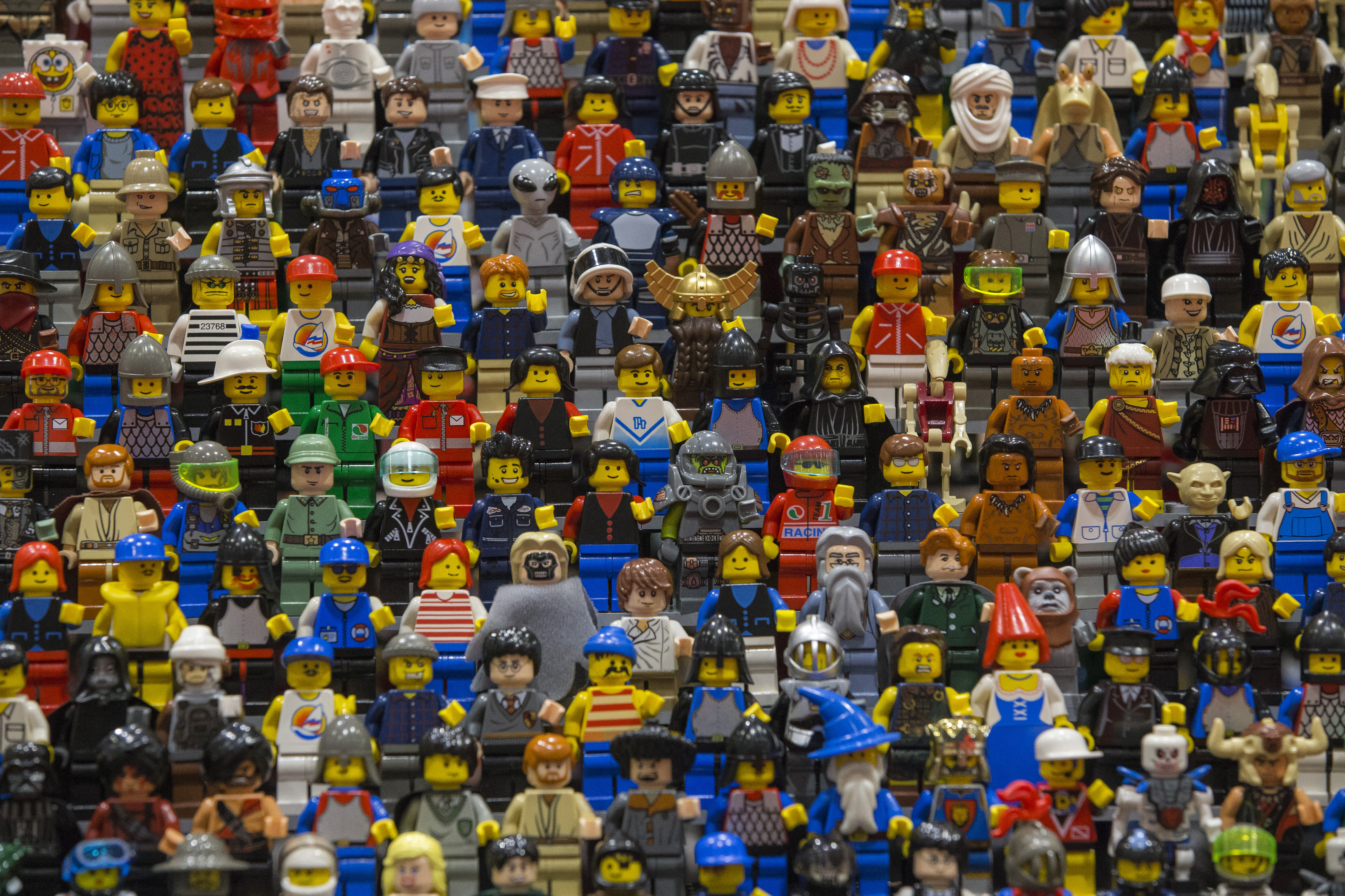 Lego figures are displayed on the opening day of BRICK 2014 at the Excel Centre on November 27, 2014 in London.
