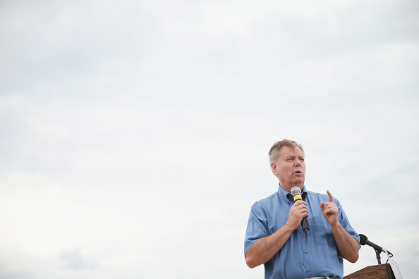 Republican presidential hopeful Senator Lindsey Graham (R-SC) speaks at a Roast and Ride event hosted by freshman Senator Joni Ernst (R-IA) on June 6, 2015 in Boone, Iowa. Ernst is hoping the event, which featured a motorcycle tour, a pig roast, and speeches from several 2016 presidential hopefuls, becomes an Iowa Republican tradition.