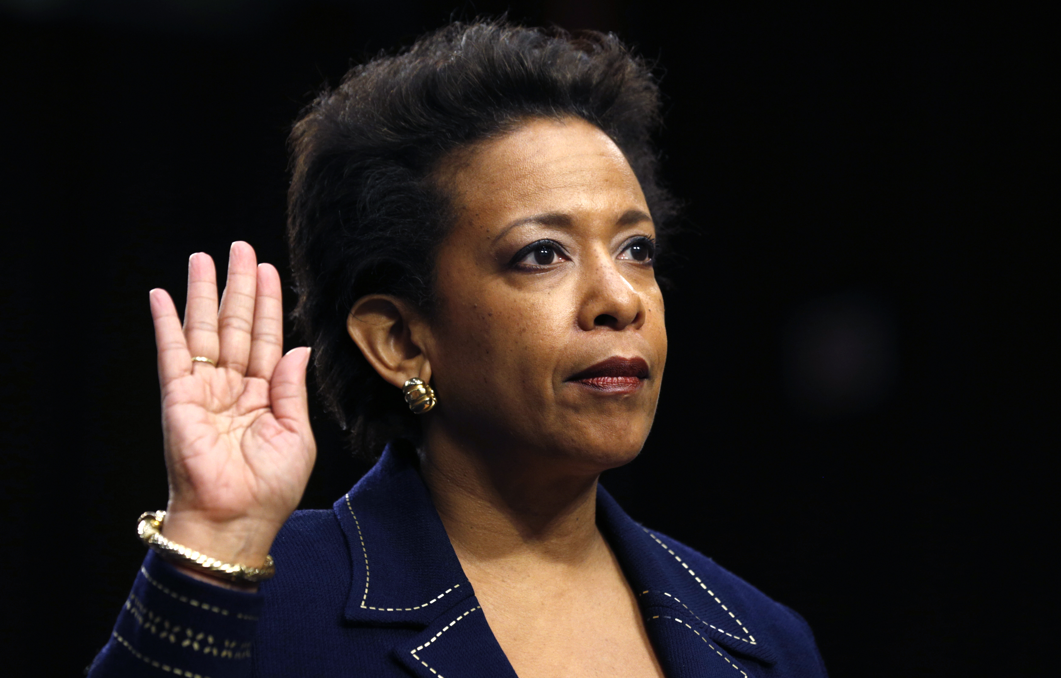 Loretta Lynch is sworn in to testify before a Senate Judiciary Committee confirmation hearing on her nomination to be U.S. attorney general on Capitol Hill in Washington January 28, 2015.