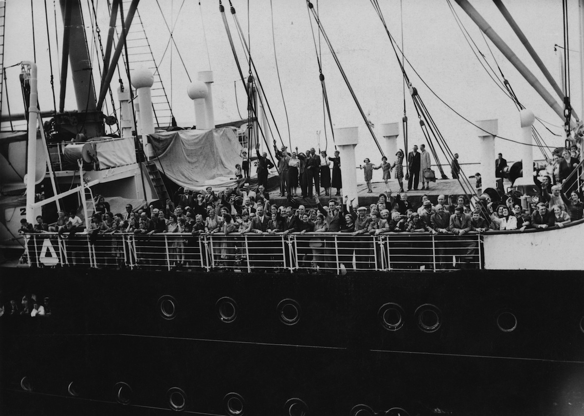 Refugees arrive in Antwerp on the MS St. Louis after over a month at sea, during which they were denied entry to Cuba, the United States and Canada, June 17, 1939.