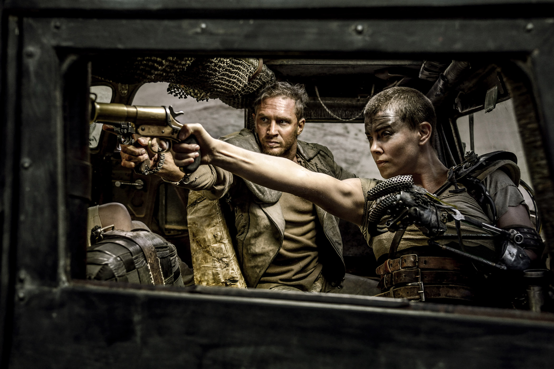 Tom Hardy and Charlize Theron star in Mad Max: Fury Road