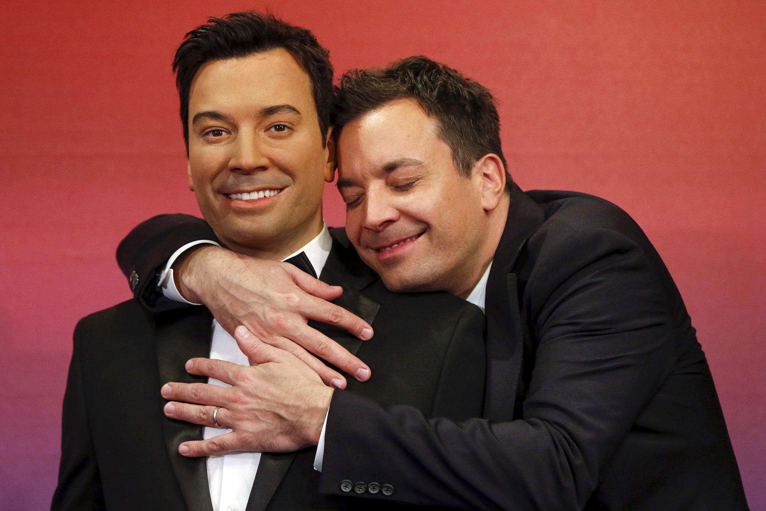Jimmy Fallon, right, poses with his wax figure at Madame Tussauds in New York on March 27, 2015.