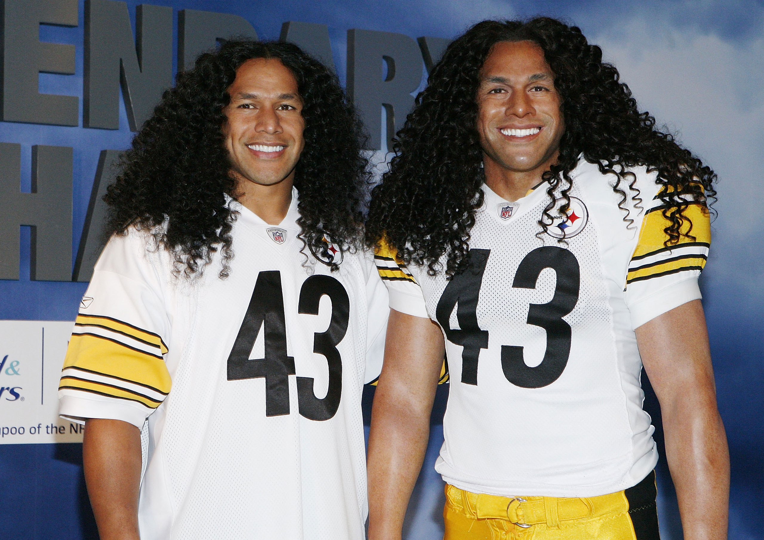 Troy Polamalu, left,  attends the Troy Polamalu Wax Figure unveiling at Madame Tussauds in New York on Oct. 11, 2011.
