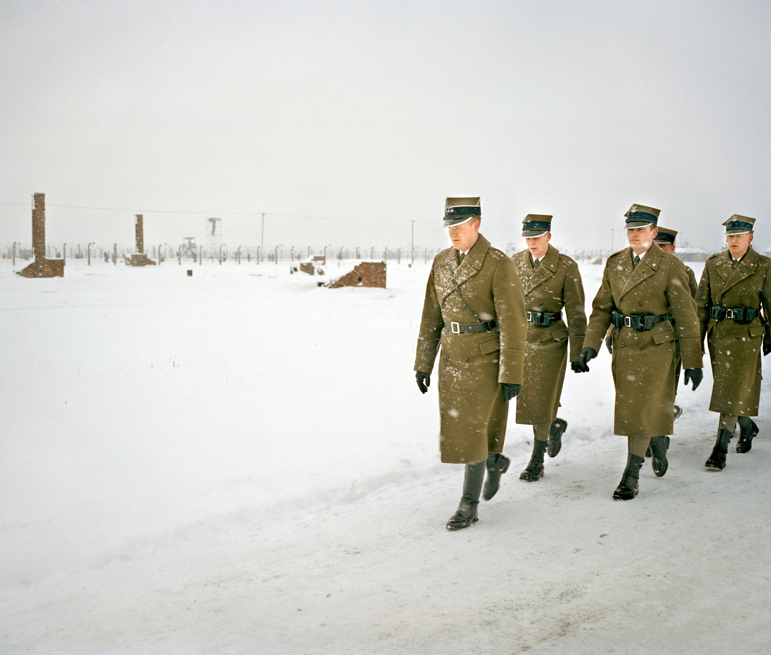 Auschwitz-Birkenau,                                60th anniversary of the camp's liberation, 2005Polish soldiers on the way to the commemoration of the liberation of Auschwitz-Birkenau concentration camp by the Red Army on Jan. 27, 1945.