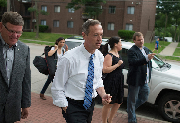Democratic presidential hopeful and former Maryland Gov. Martin O'Malley arrives for a campaign event at the Sanctuary Pub on June 11, 2015 in Iowa City, Iowa.