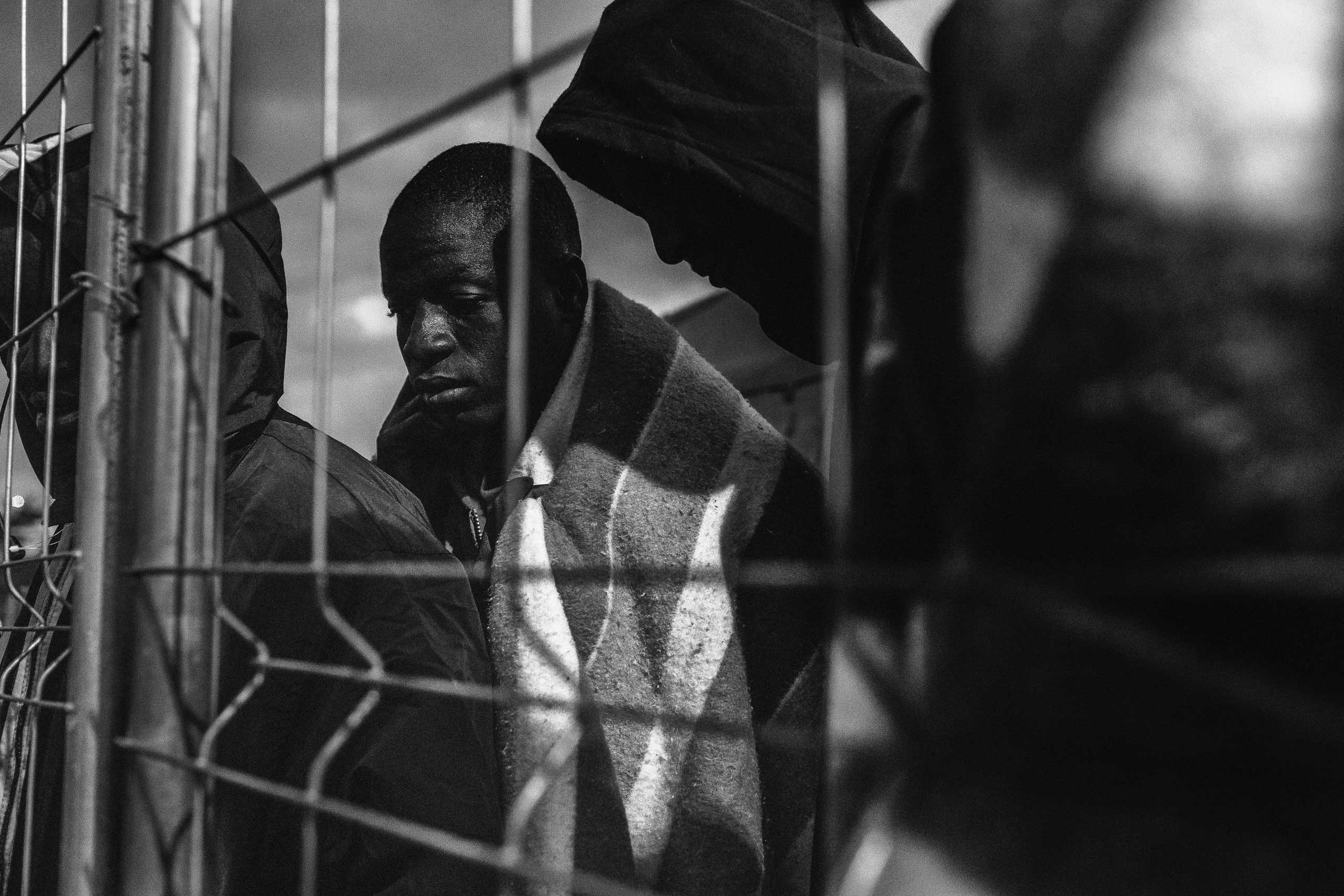 A group of Malian migrants seen inside the temporary immigration holding center built by the Spanish Army in Melilla in 2014.