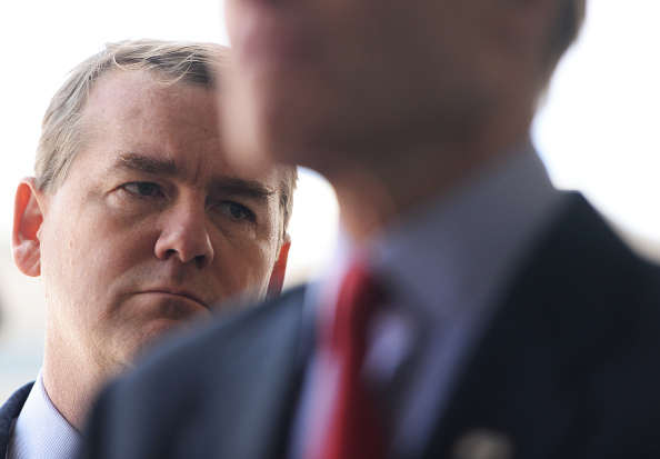 U.S. Senator Michael Bennet, D, joined other law makers during a walk though inspection of the new VA hospital construction site in Aurora, April 24, 2015.