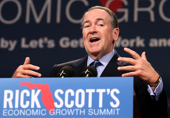 GOP presidential contender Mike Huckabee delivers a defense of Social Security benefits during Florida Gov. Rick Scott's Economic Growth Summit on Tuesday, June 2, 2015, at the Yacht & Beach Club Convention Center at Walt Disney World in Lake Buena Vista, Fla.