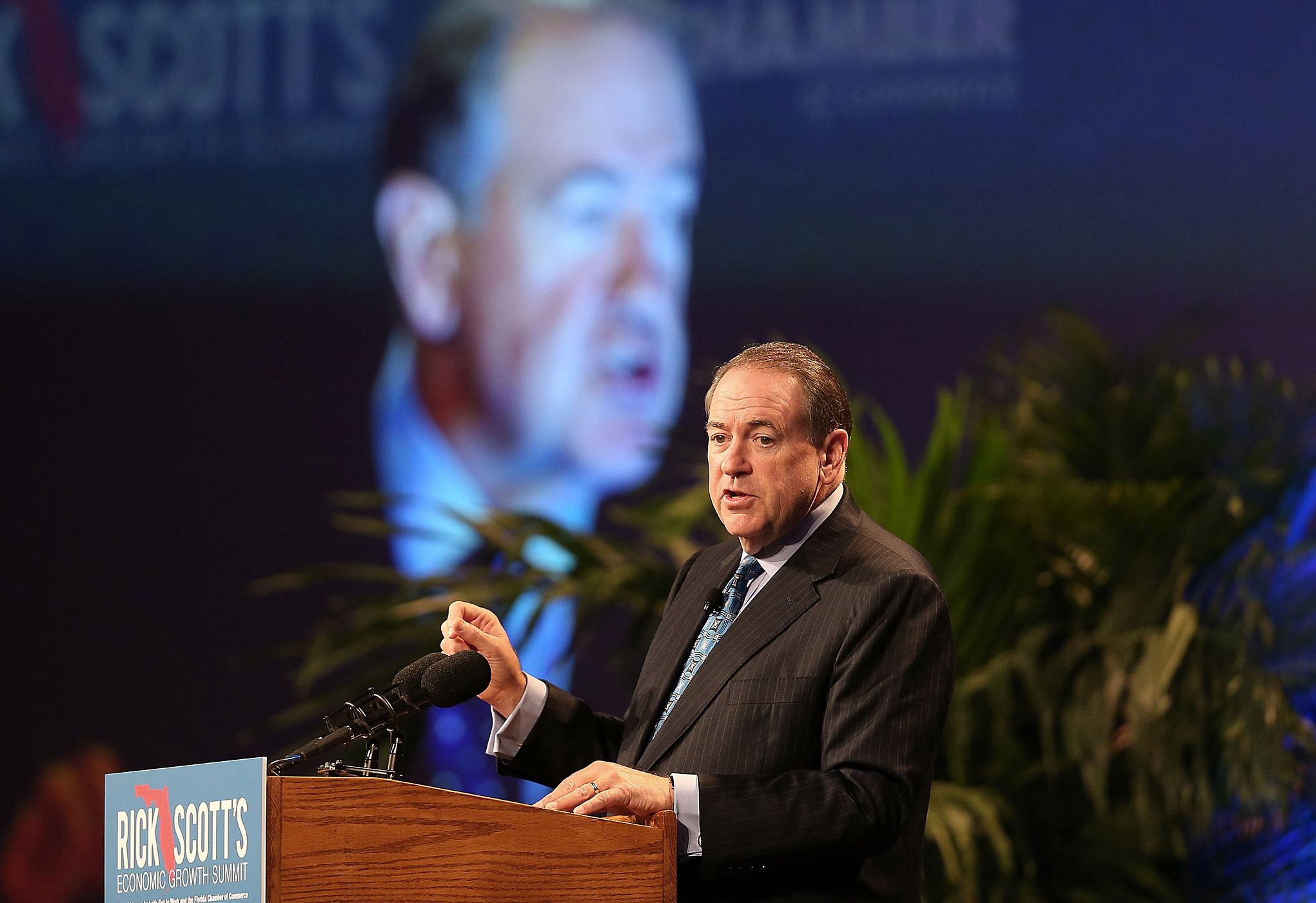 Former Arkansas Governor Mike Huckabee speaks during Rick Scott's Economic Growth Summit held at Disney's Yacht and Beach Club Convention Center on June 2, 2015 in Orlando, Fla.