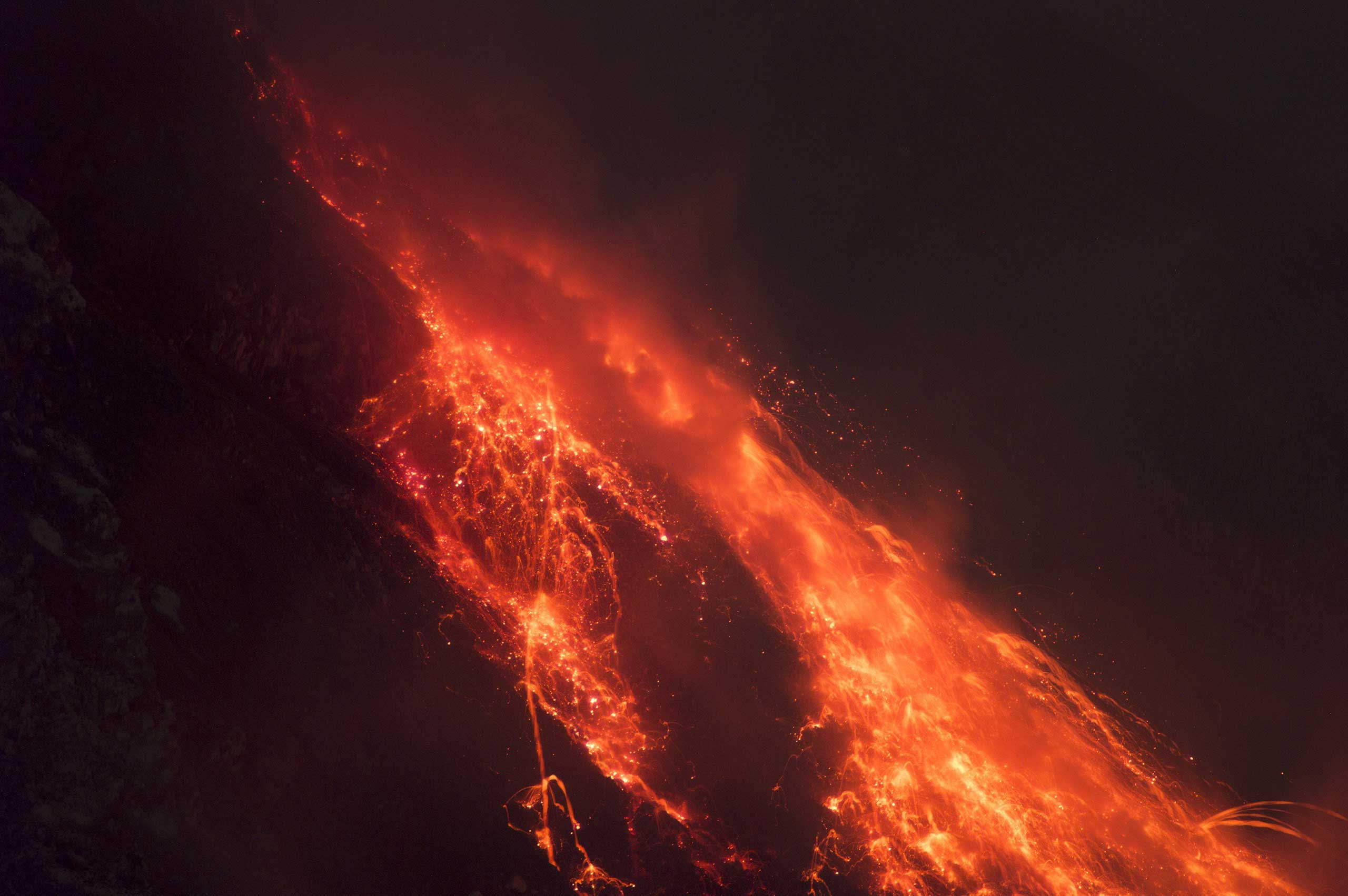A close-up of hot lava running down from Mount Sinabung in Sumatra island in Indonesia on  June 13, 2015.