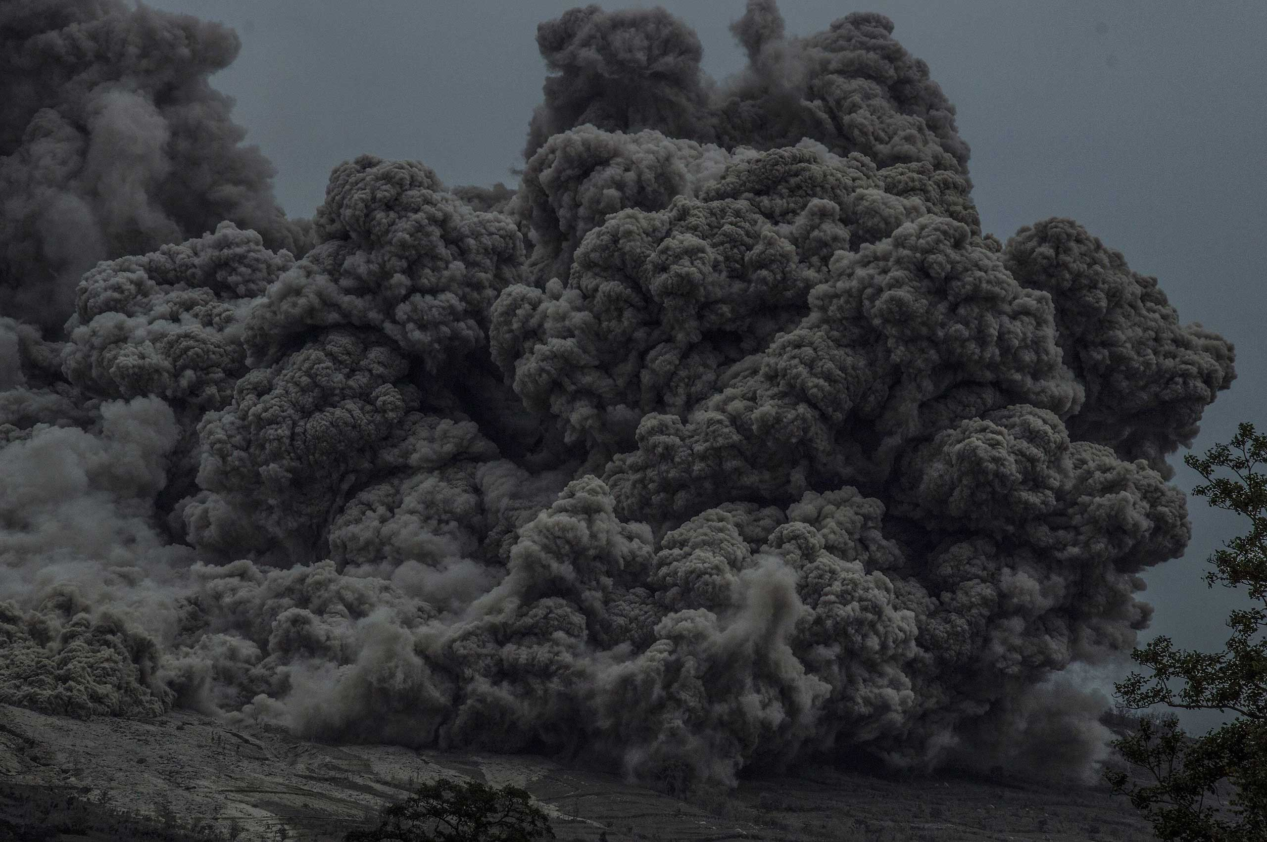 A close-up of volcanic ash flowing down from Mount Sinabung on June 13, 2015.