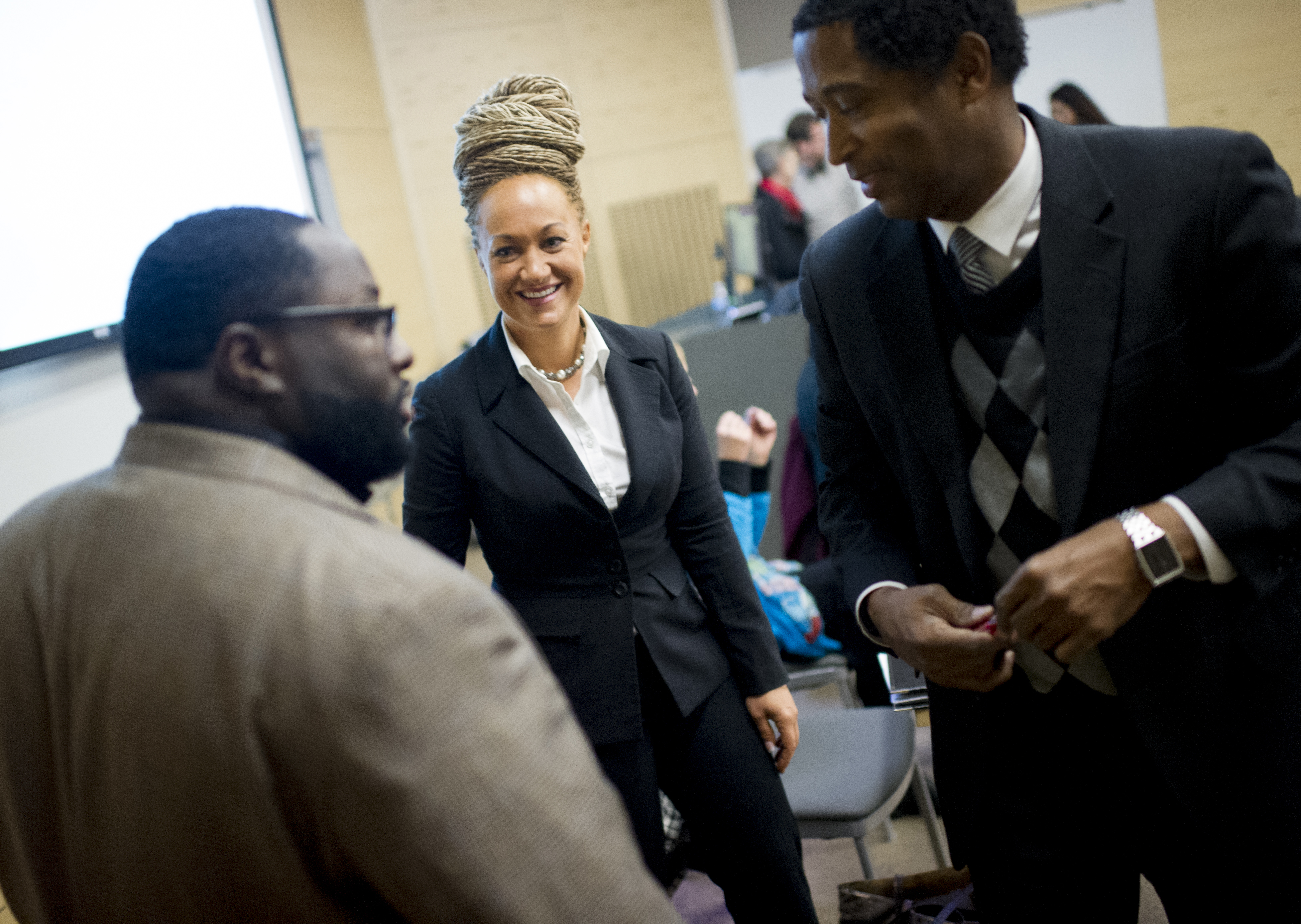 Rachel Dolezal before the start of a Black Lives Matter Teach-In on Public Safety and Criminal Justice  at EWU in Cheney, Wash., on Jan. 16, 2015