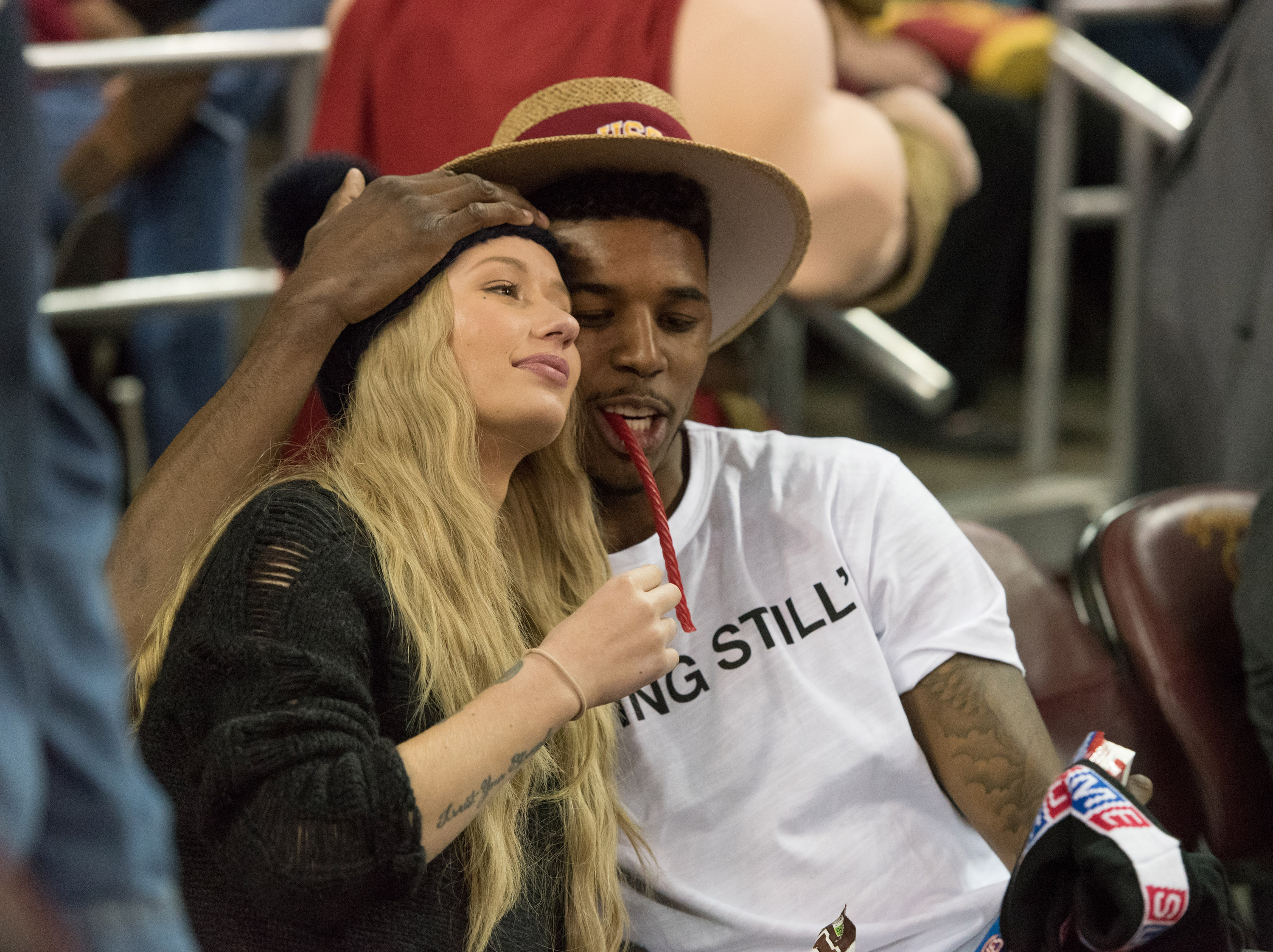 Rapper Iggy Azalea and Nick Young are seen on January 14, 2015 at the UCLA Men's Basektball Game at The Galen Center in Los Angeles, California