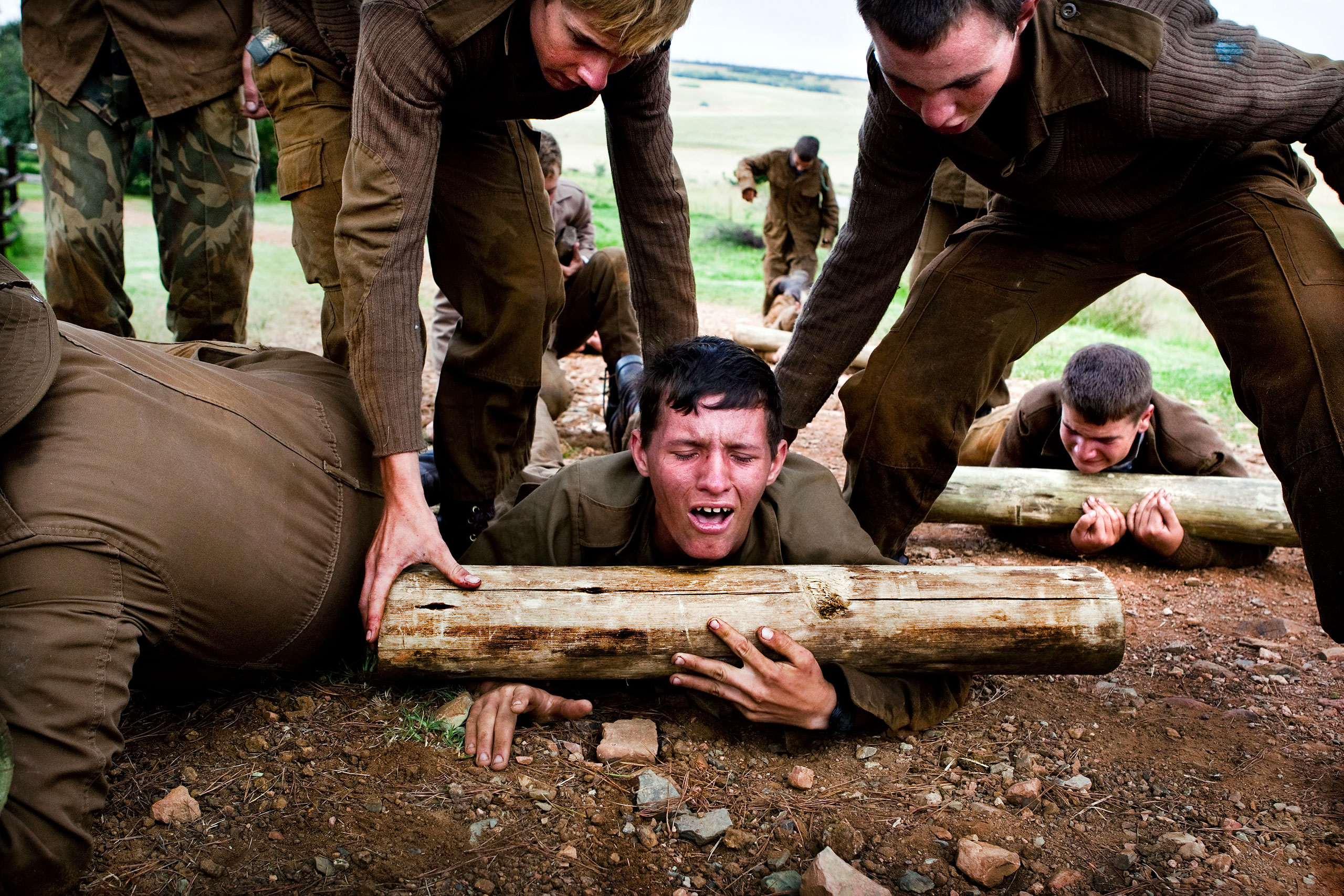 One of the boys cries from pain during one of the tough camp exercises.