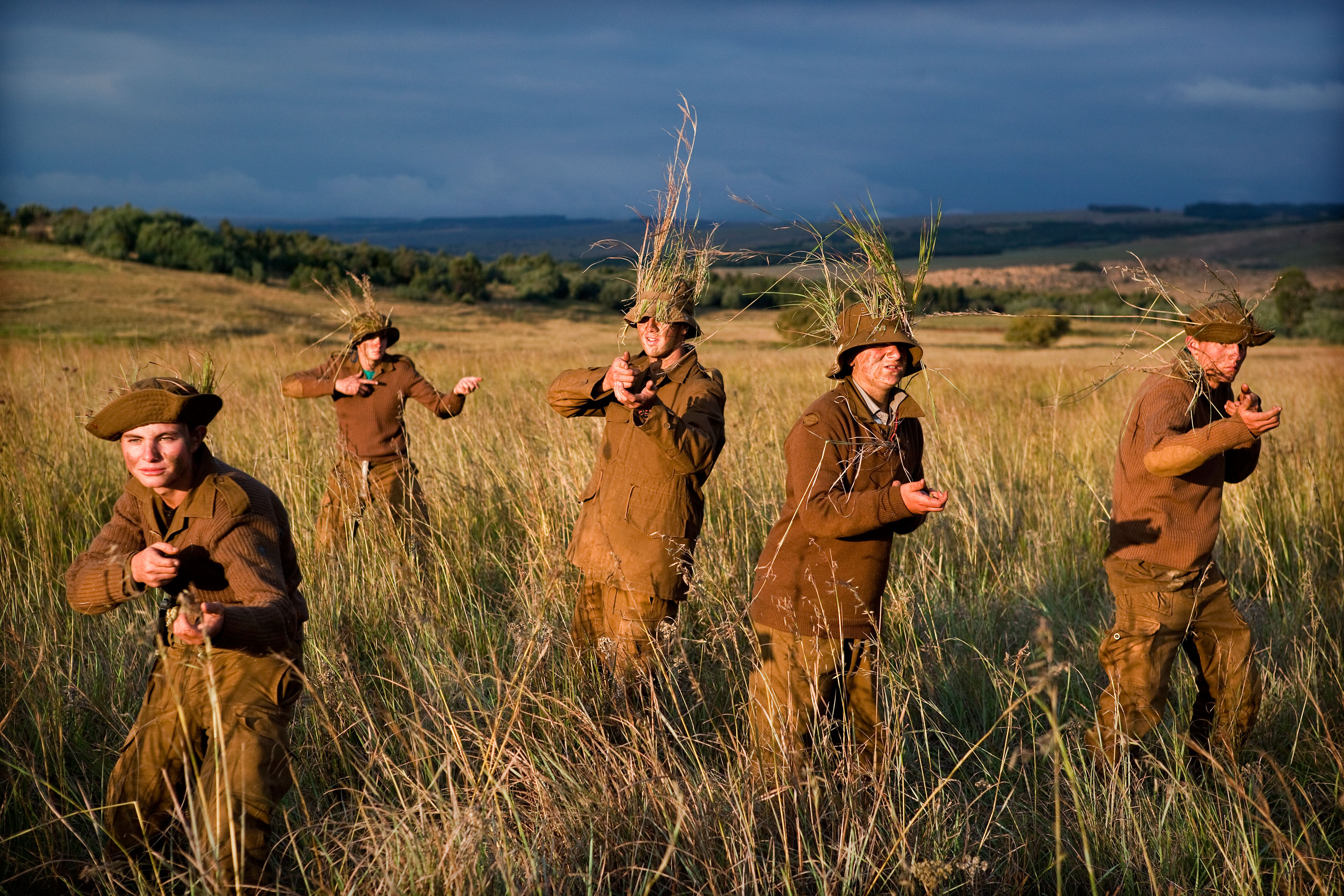 Afrikaner children practice how to use guns during one of the practices at the camp.