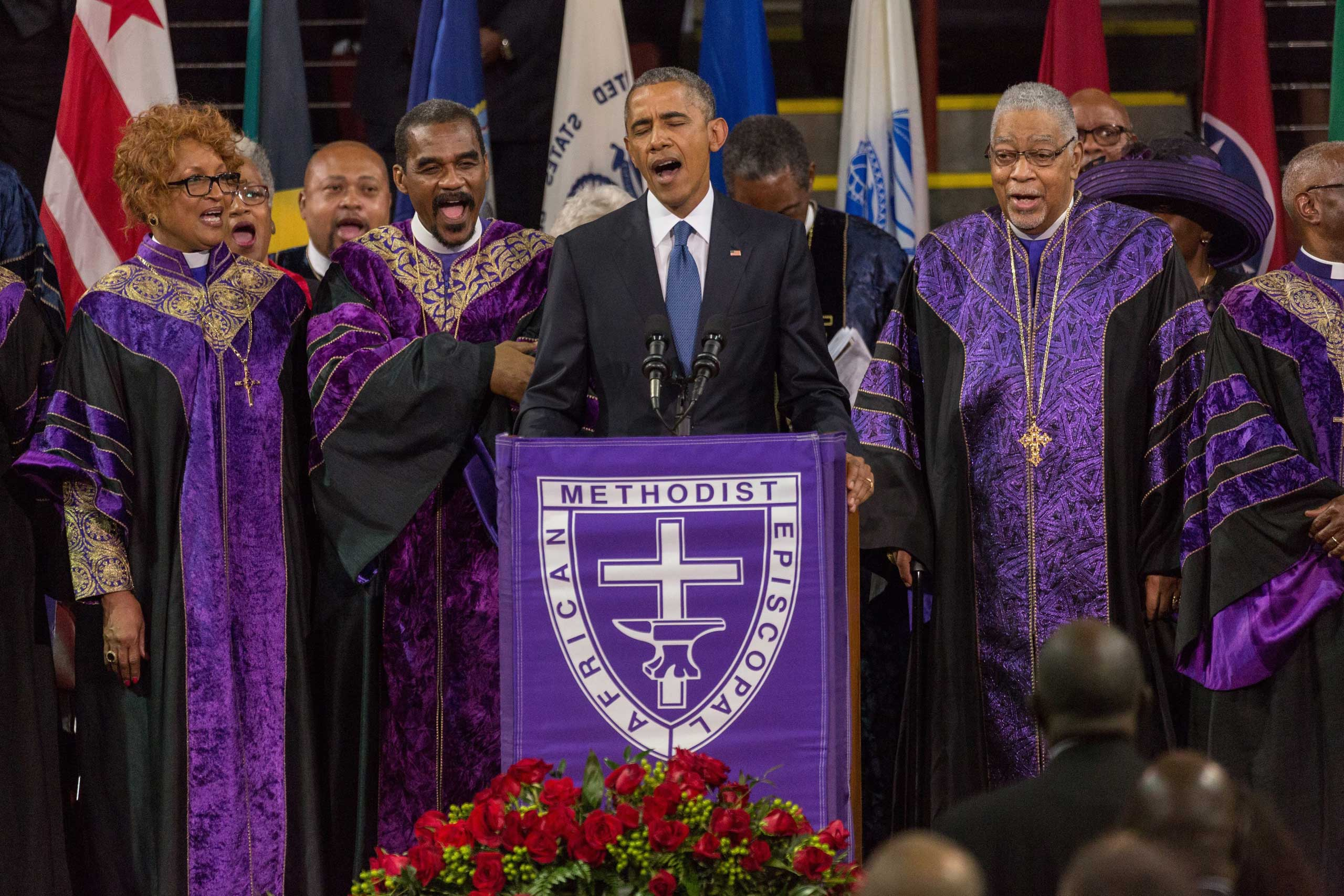 President Barack Obama sings Amazing Grace during the eulogy at the funeral of Rev. Clementa Pinckney at the TD Arena in Charleston, S.C. on June 26, 2015.